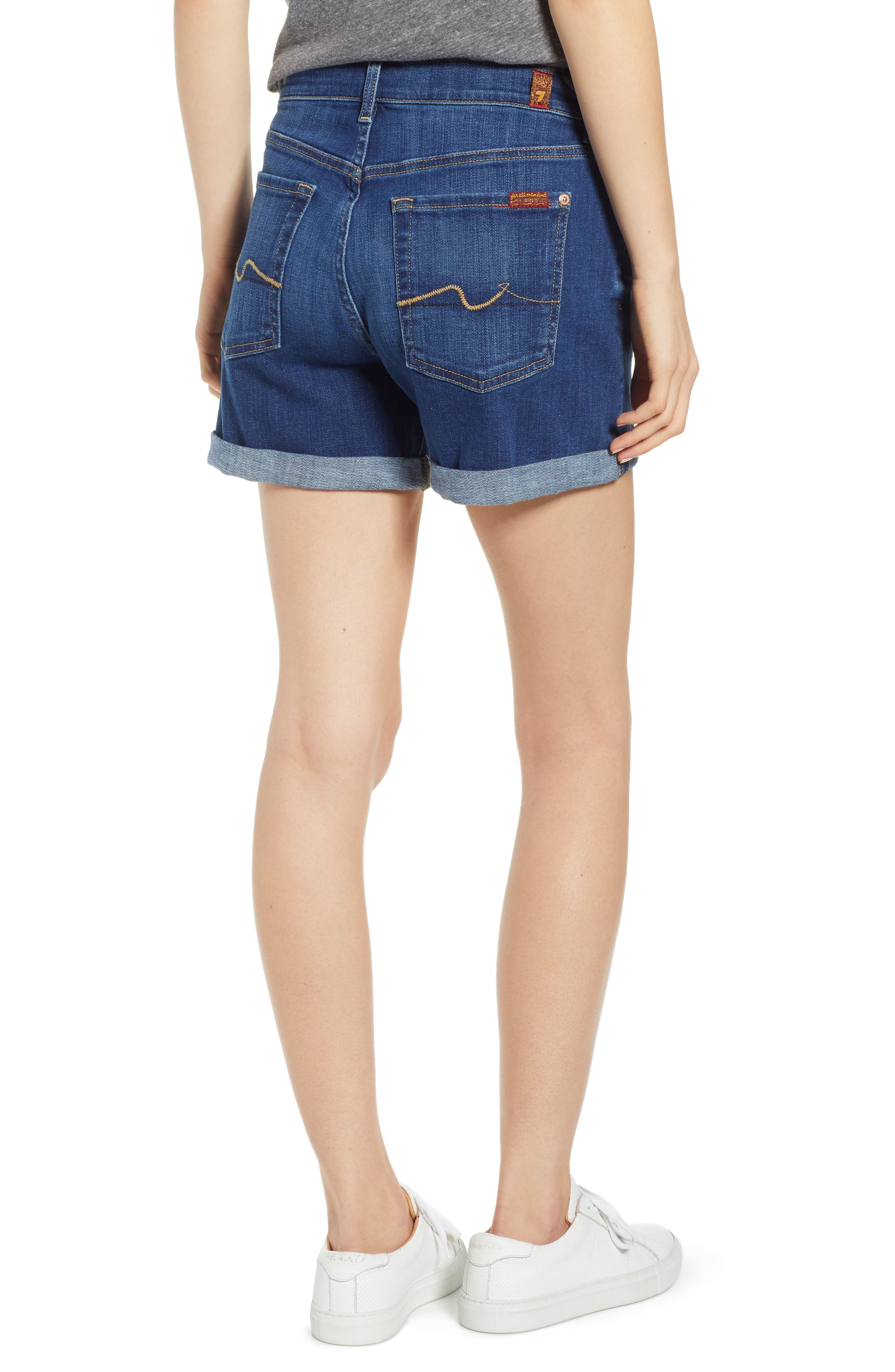 7 FOR ALL MANKIND<SUP>®</SUP>, Roll Cuff Denim Shorts, Alternate thumbnail 2, color, BROKEN TWILL VANITY CLEAN