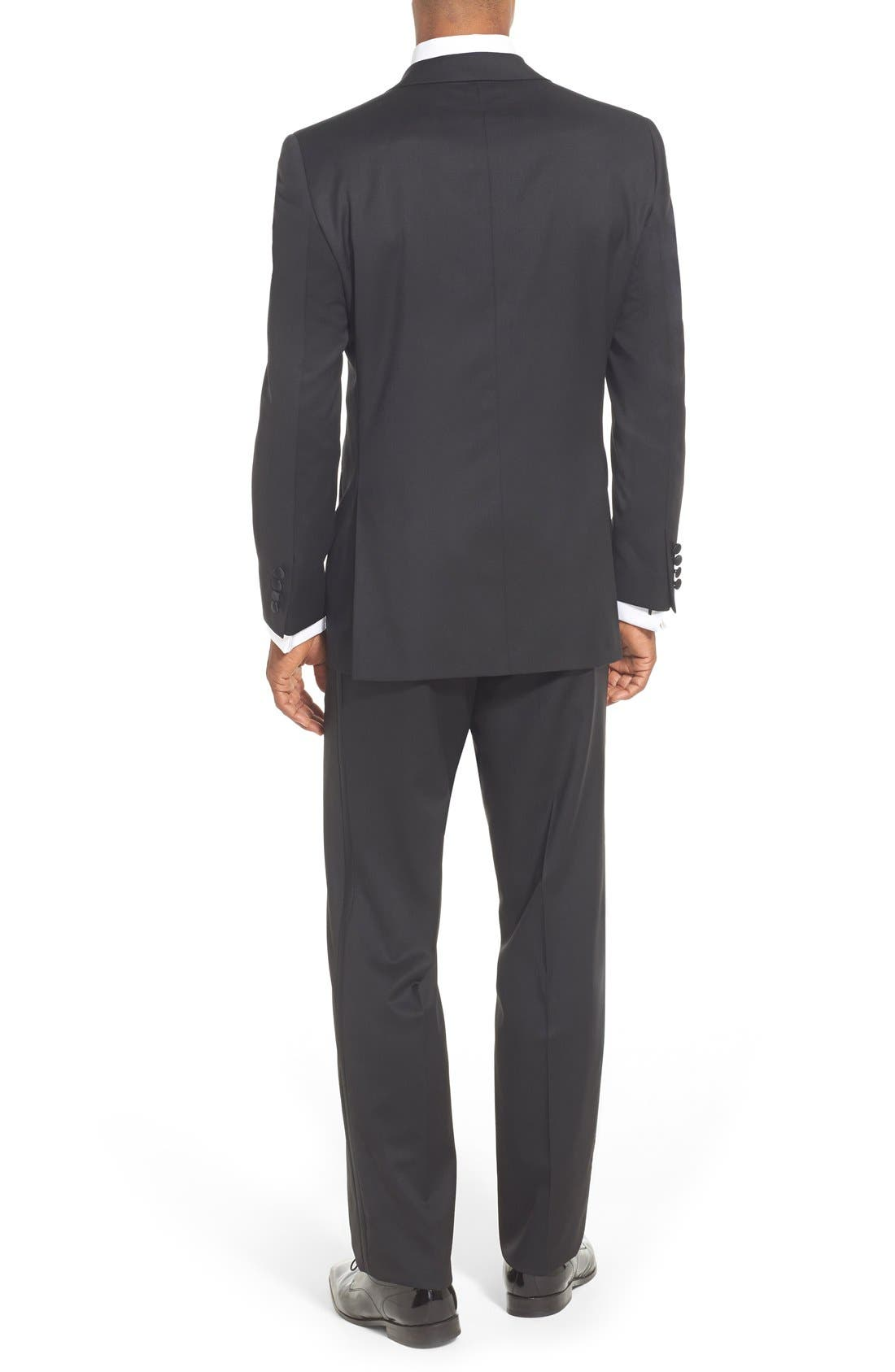 DAVID DONAHUE, Classic Fit Loro Piana Wool Notch Lapel Tuxedo, Alternate thumbnail 3, color, BLACK