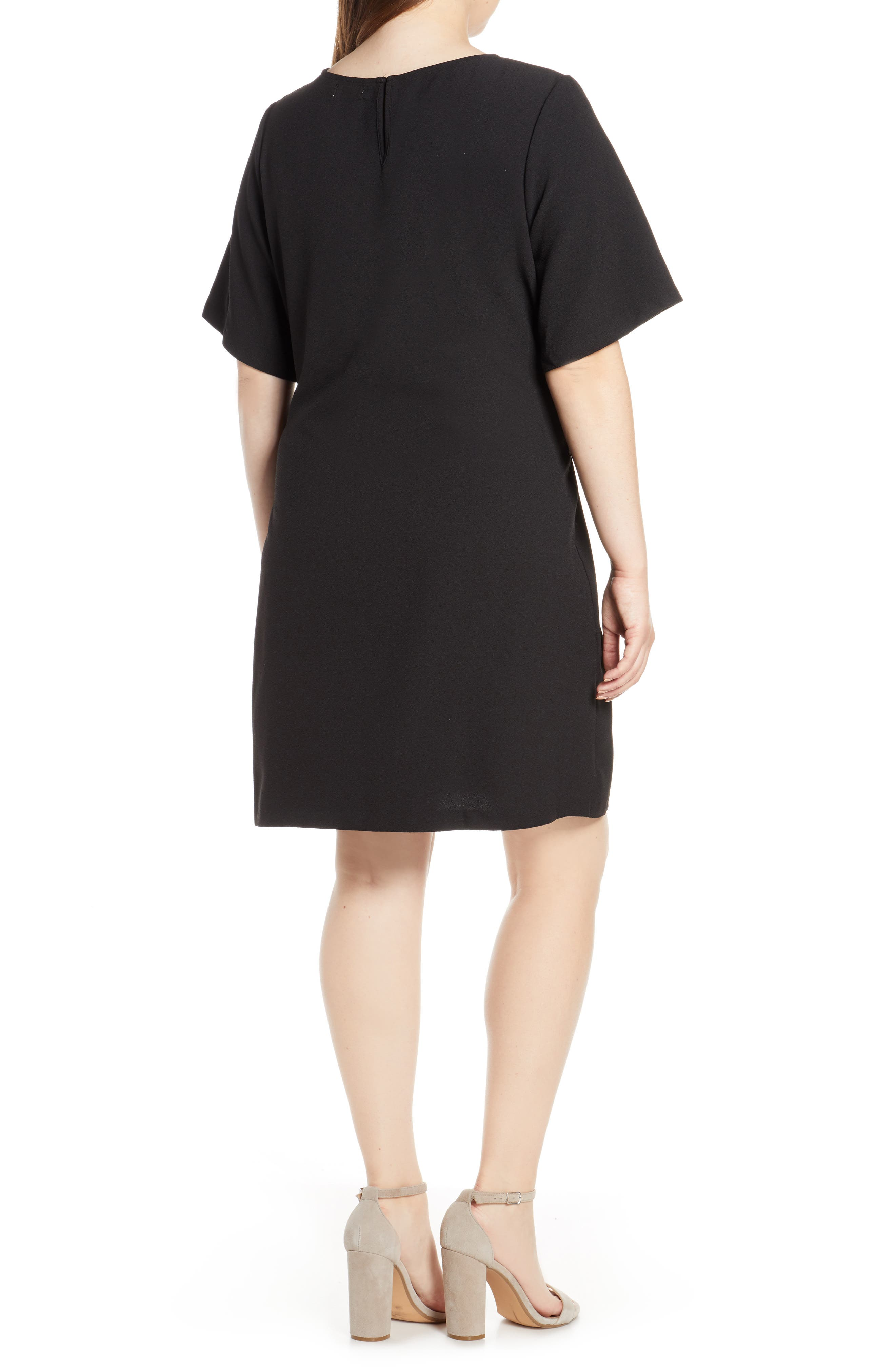 CHELSEA28, Front Tie Shift Dress, Alternate thumbnail 9, color, BLACK