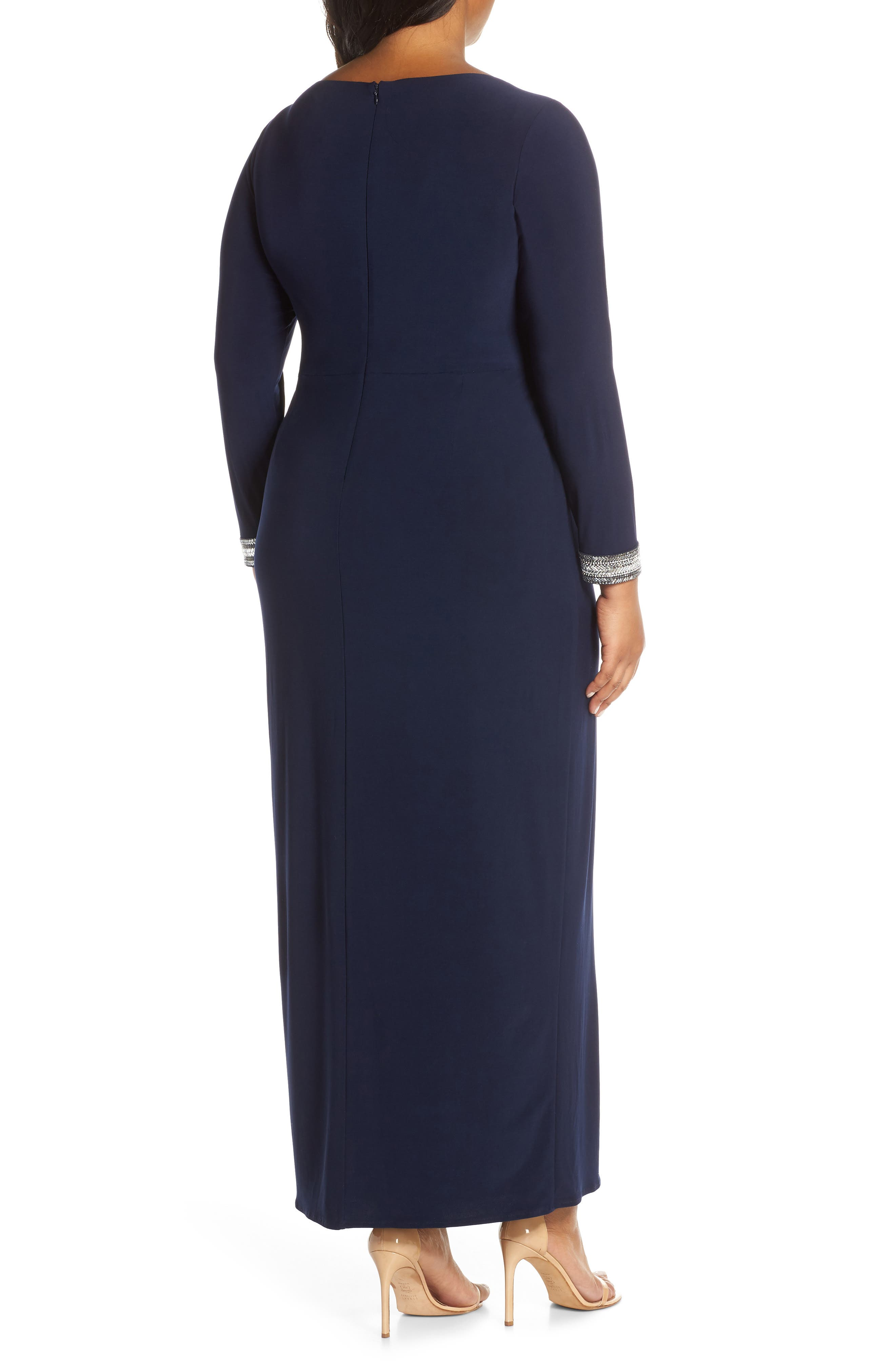 VINCE CAMUTO, Beaded Cuff Ruched Jersey Gown, Alternate thumbnail 2, color, NAVY