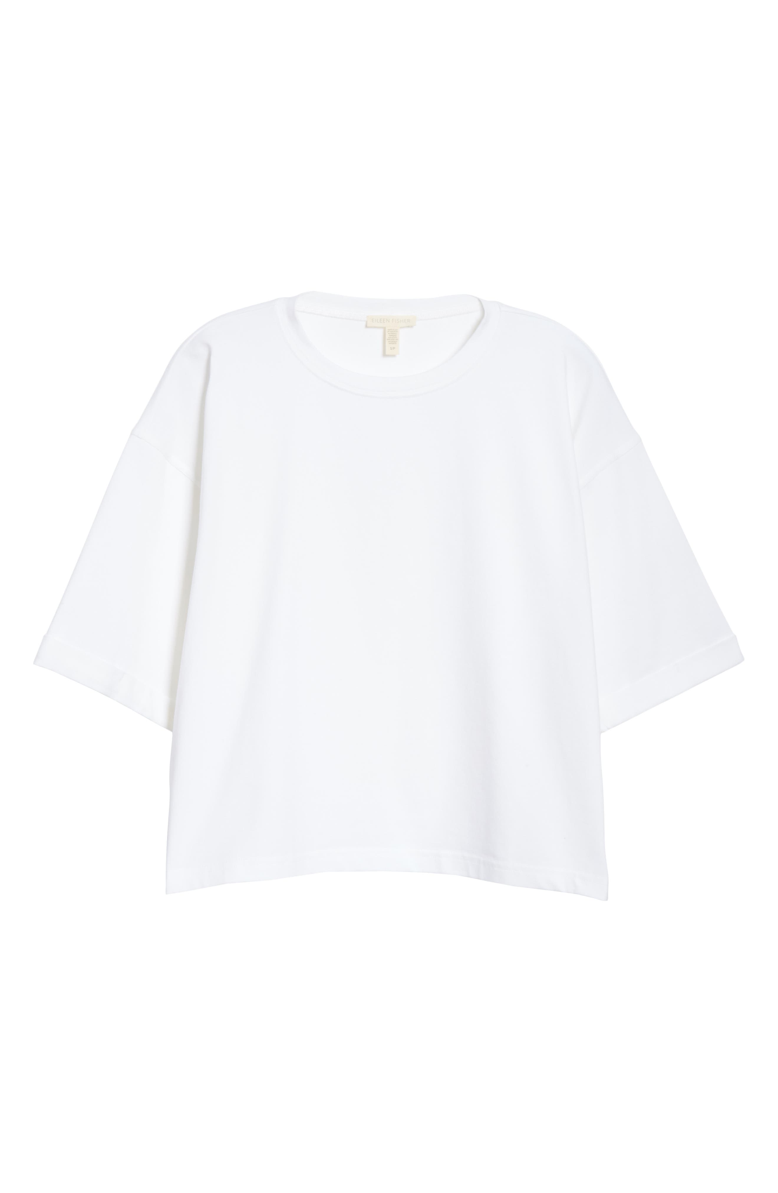 EILEEN FISHER, Stretch Organic Cotton Top, Alternate thumbnail 6, color, PRISM