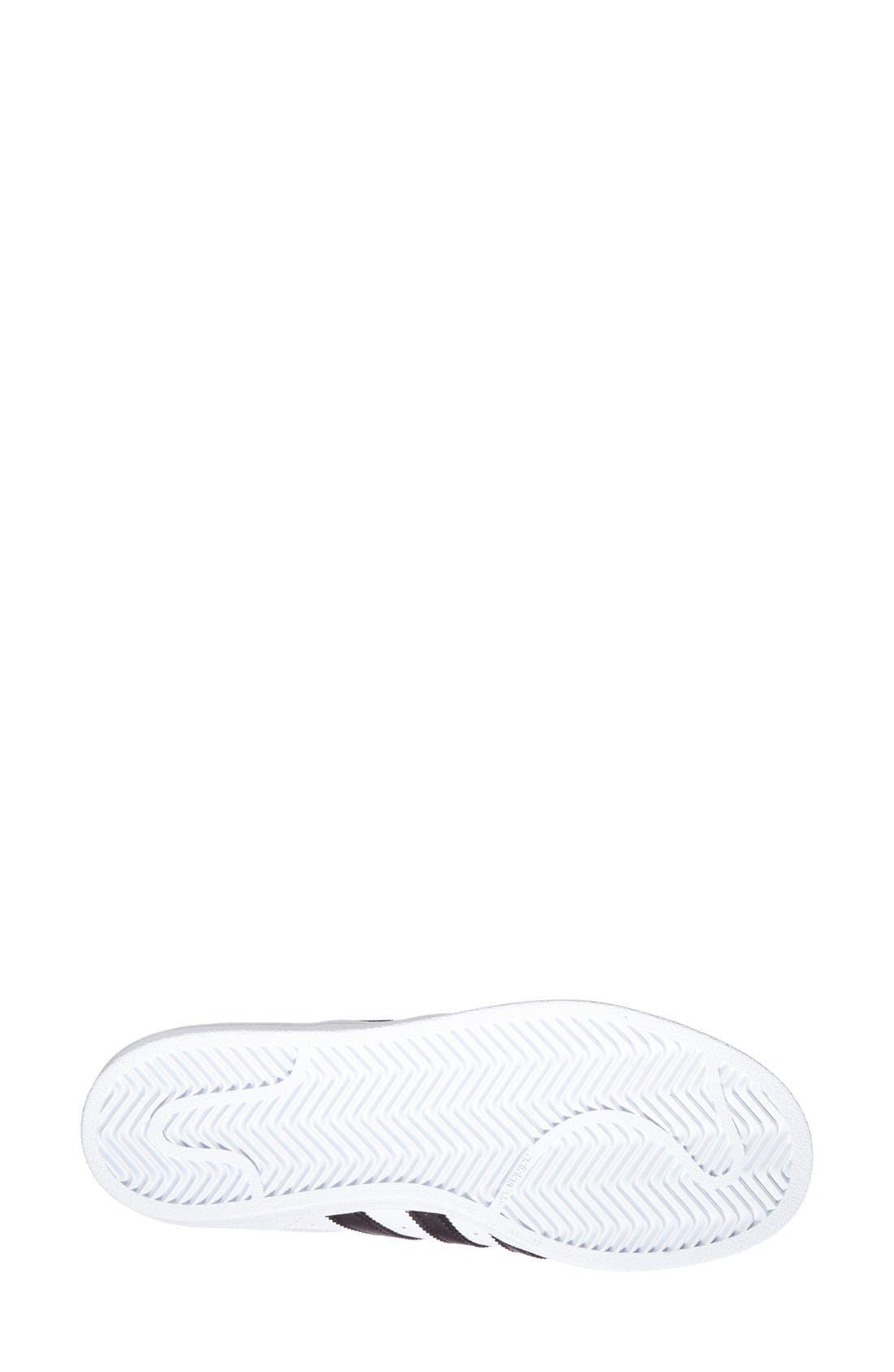 ADIDAS, Superstar Sneaker, Alternate thumbnail 10, color, WHITE/ BLACK