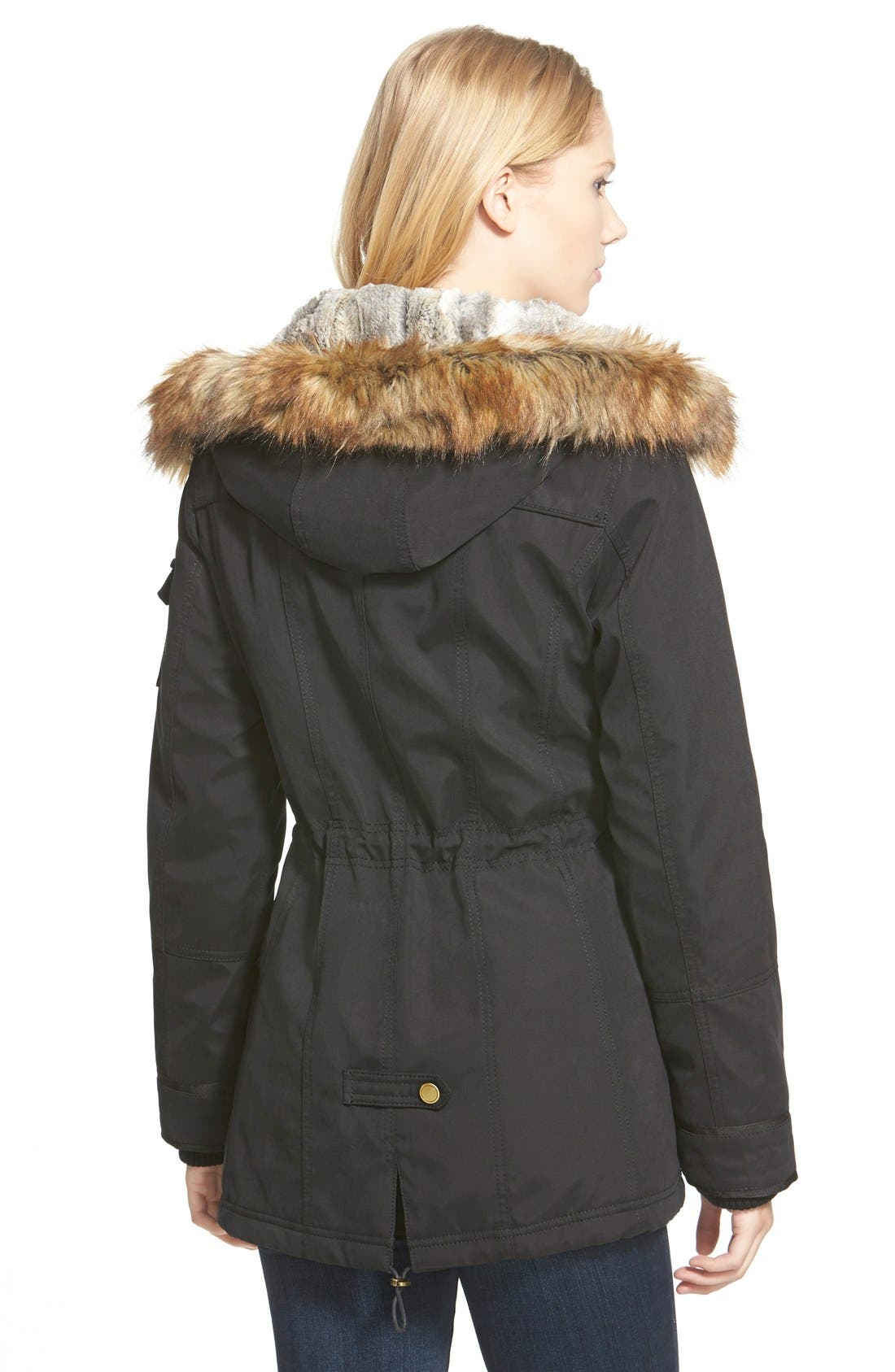 1 MADISON, Faux Fur Trim Parka, Alternate thumbnail 6, color, 001