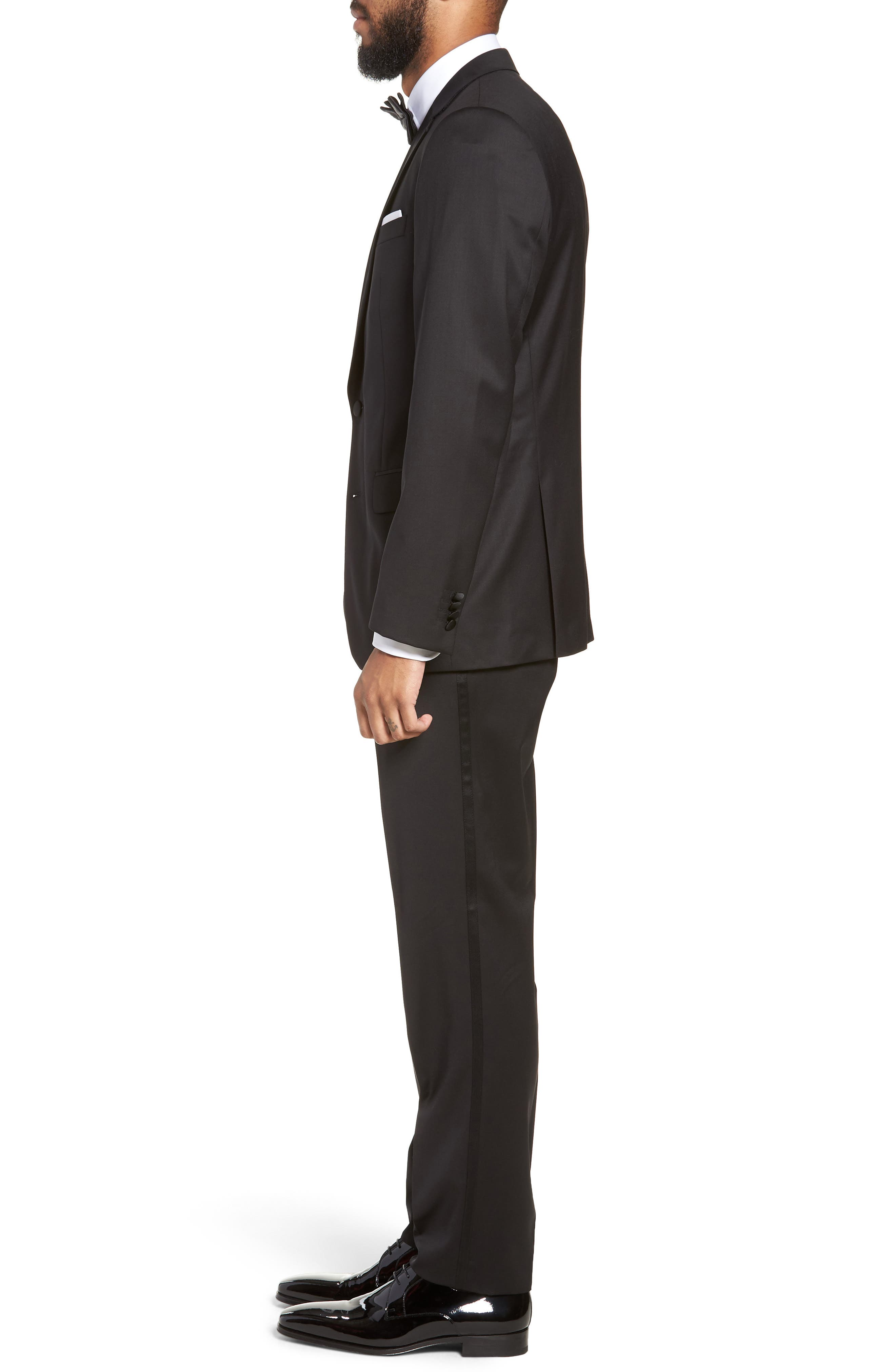 BOSS, Halven/Gentry Slim Fit Wool Tuxedo, Alternate thumbnail 3, color, BLACK