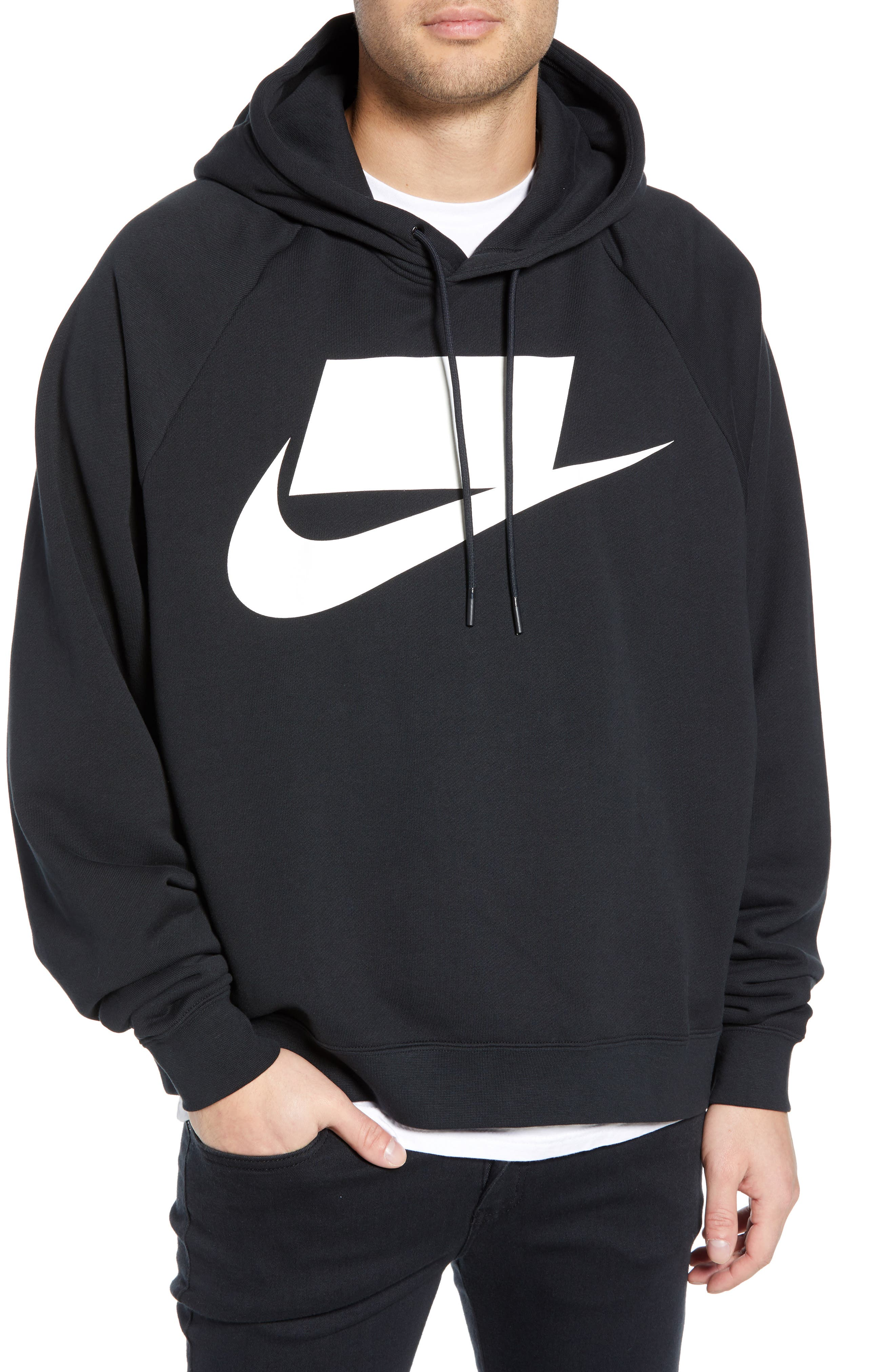 NIKE Sportswear NSW Men's French Terry Hoodie, Main, color, BLACK/ WHITE