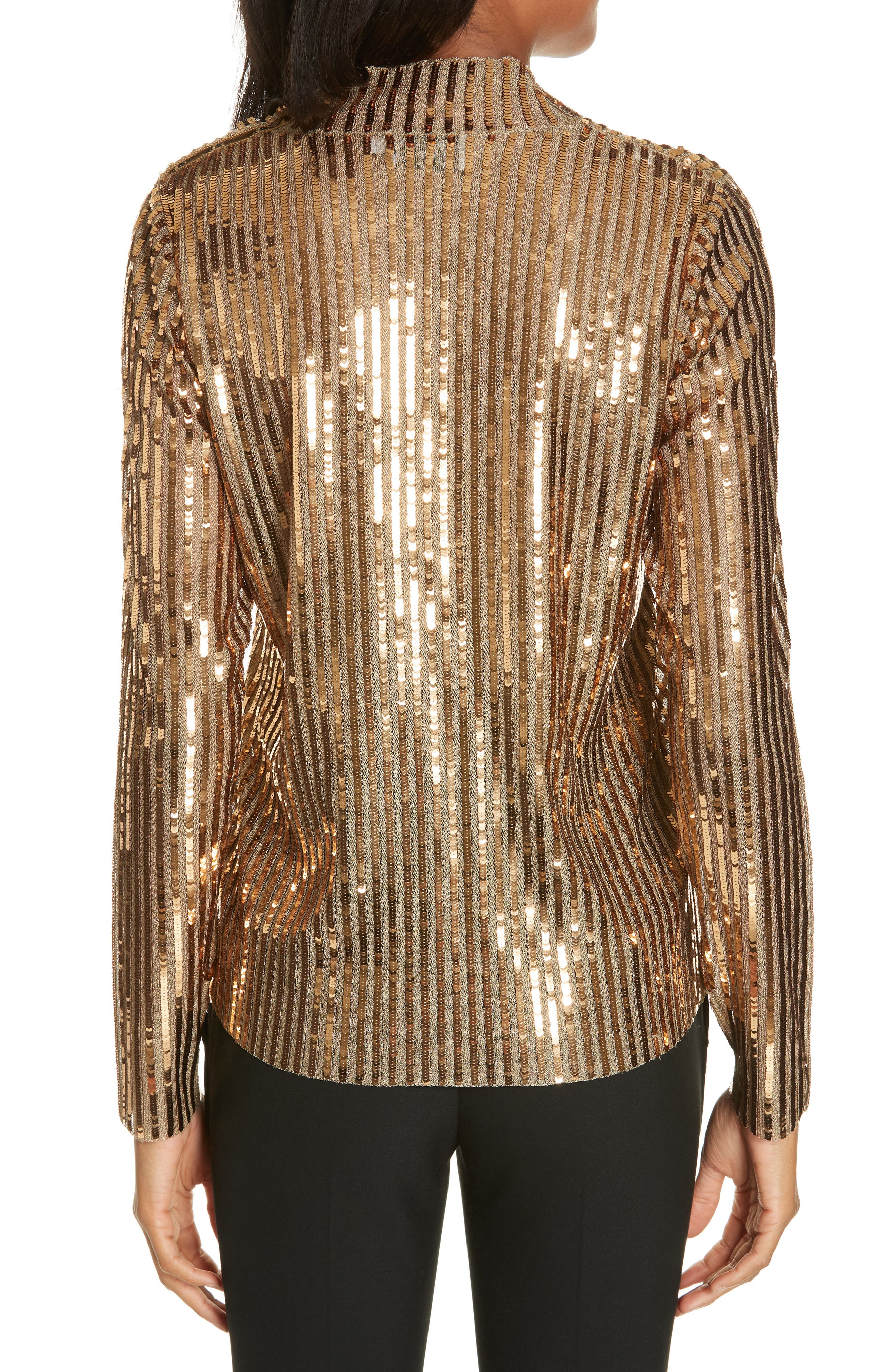 TANYA TAYLOR, Grace Gold Sequins Top, Alternate thumbnail 2, color, 712