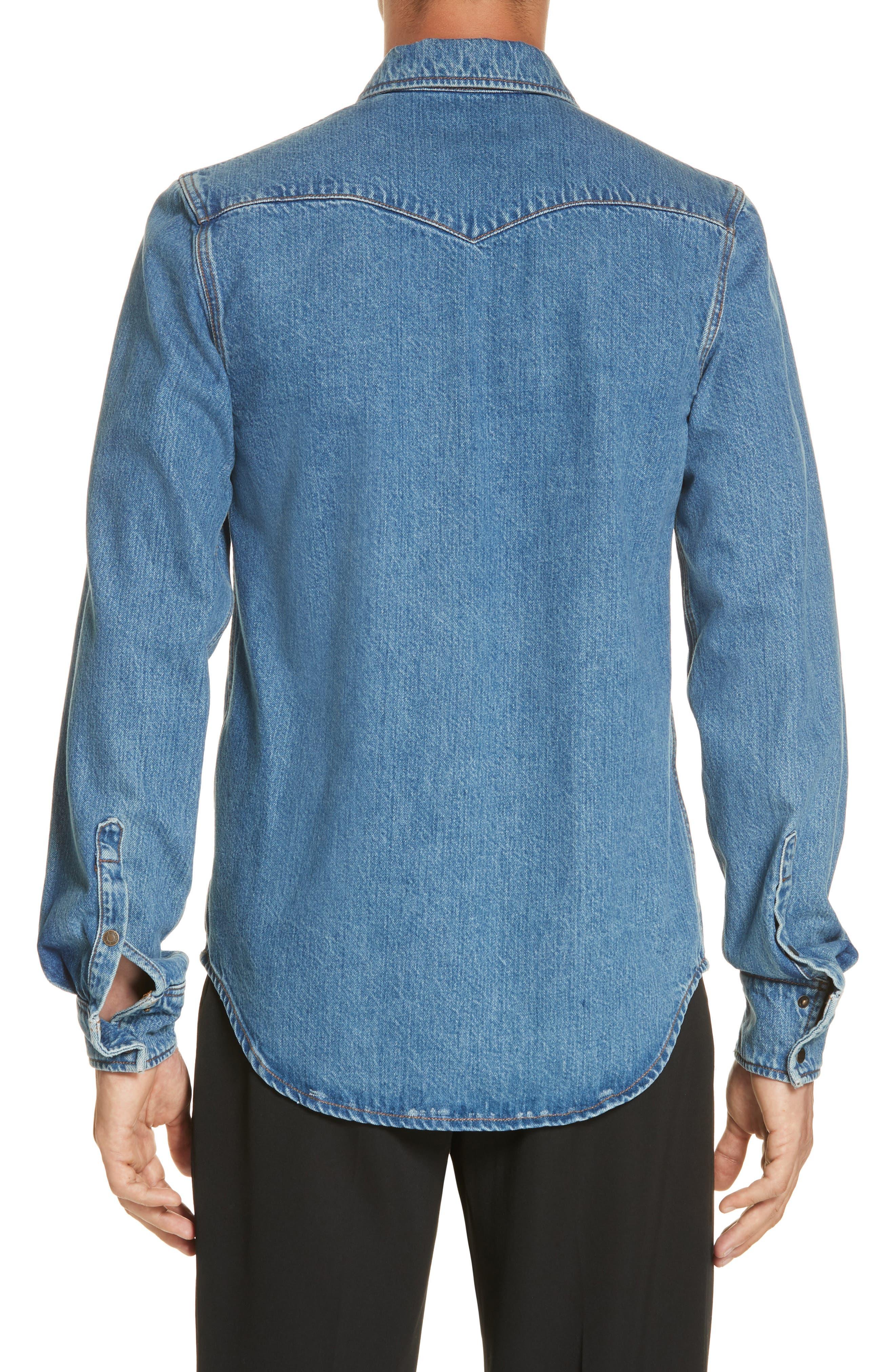 CALVIN KLEIN 205W39NYC, Denim Shirt, Alternate thumbnail 3, color, BLUE