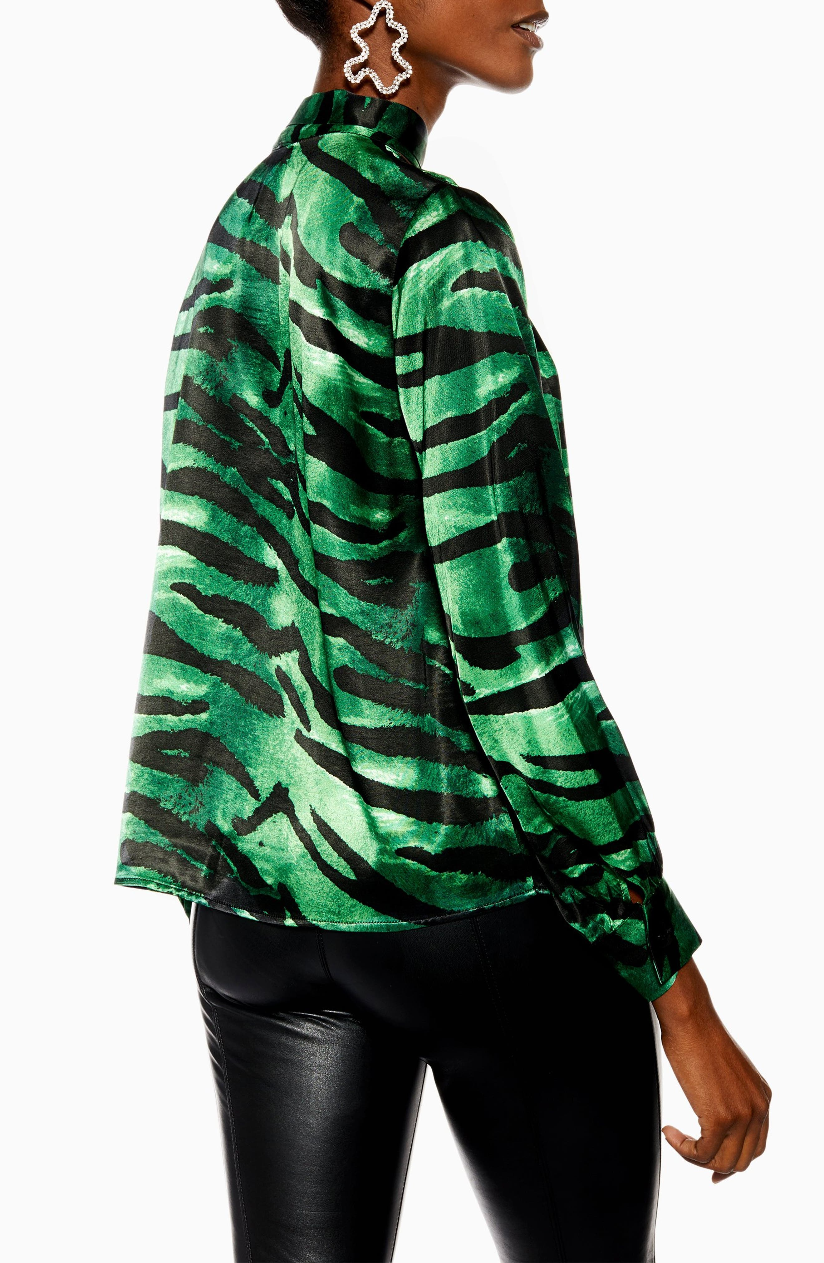 TOPSHOP, Tiger Print Pussybow Blouse, Alternate thumbnail 2, color, GREEN MULTI