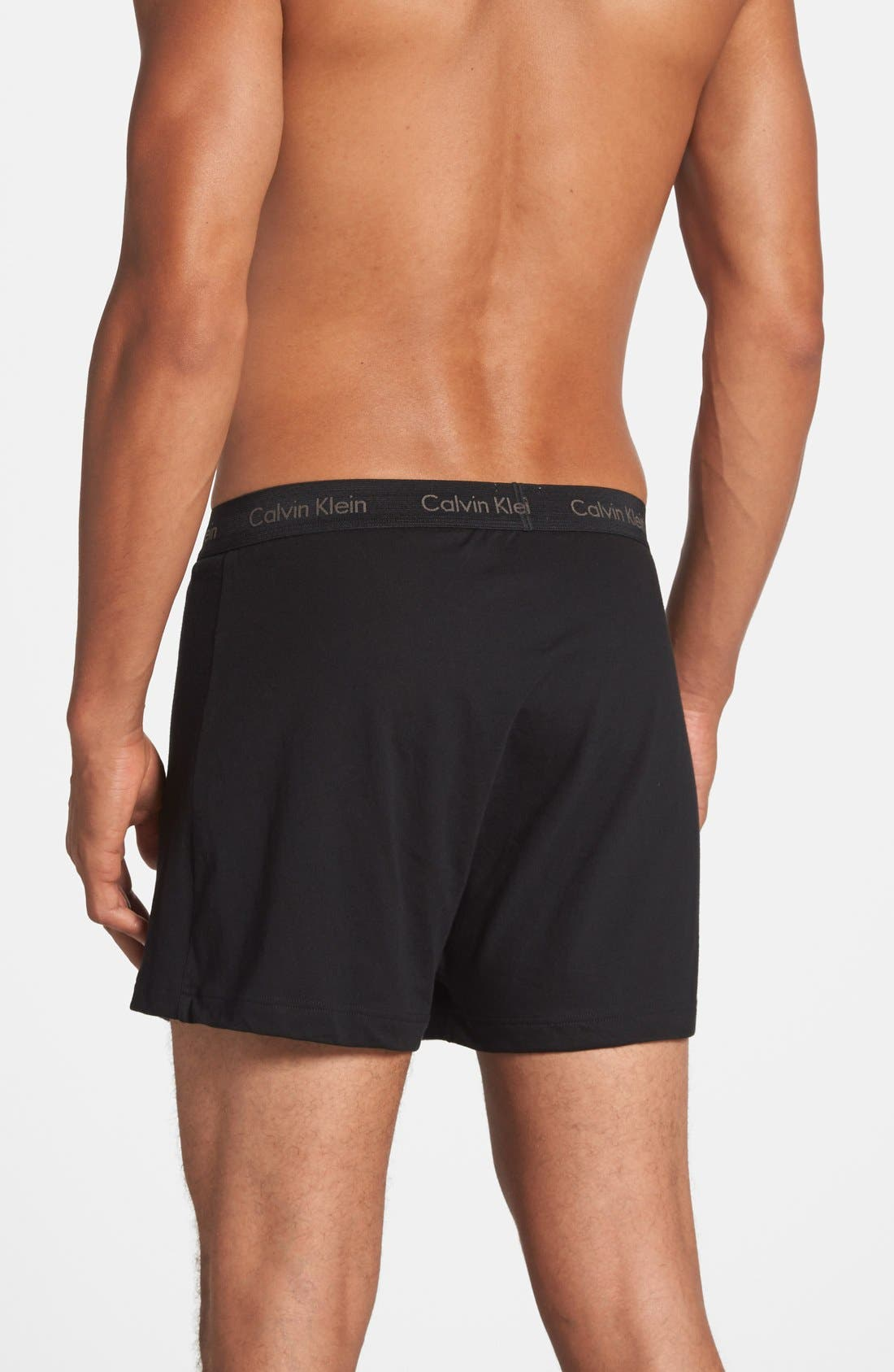 CALVIN KLEIN, 3-Pack Cotton Boxers, Alternate thumbnail 4, color, BLACK/ GREY/ WHITE