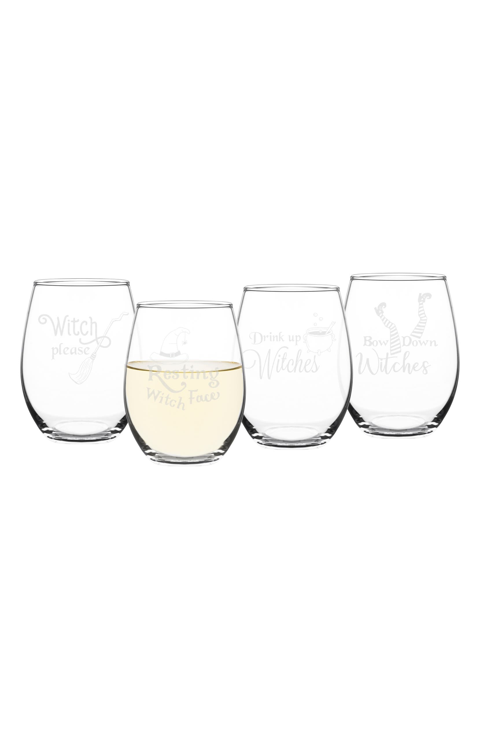 4242101238a Cathy's Concepts Witch Please Set of 4 Stemless Wine Glasses | Nordstrom