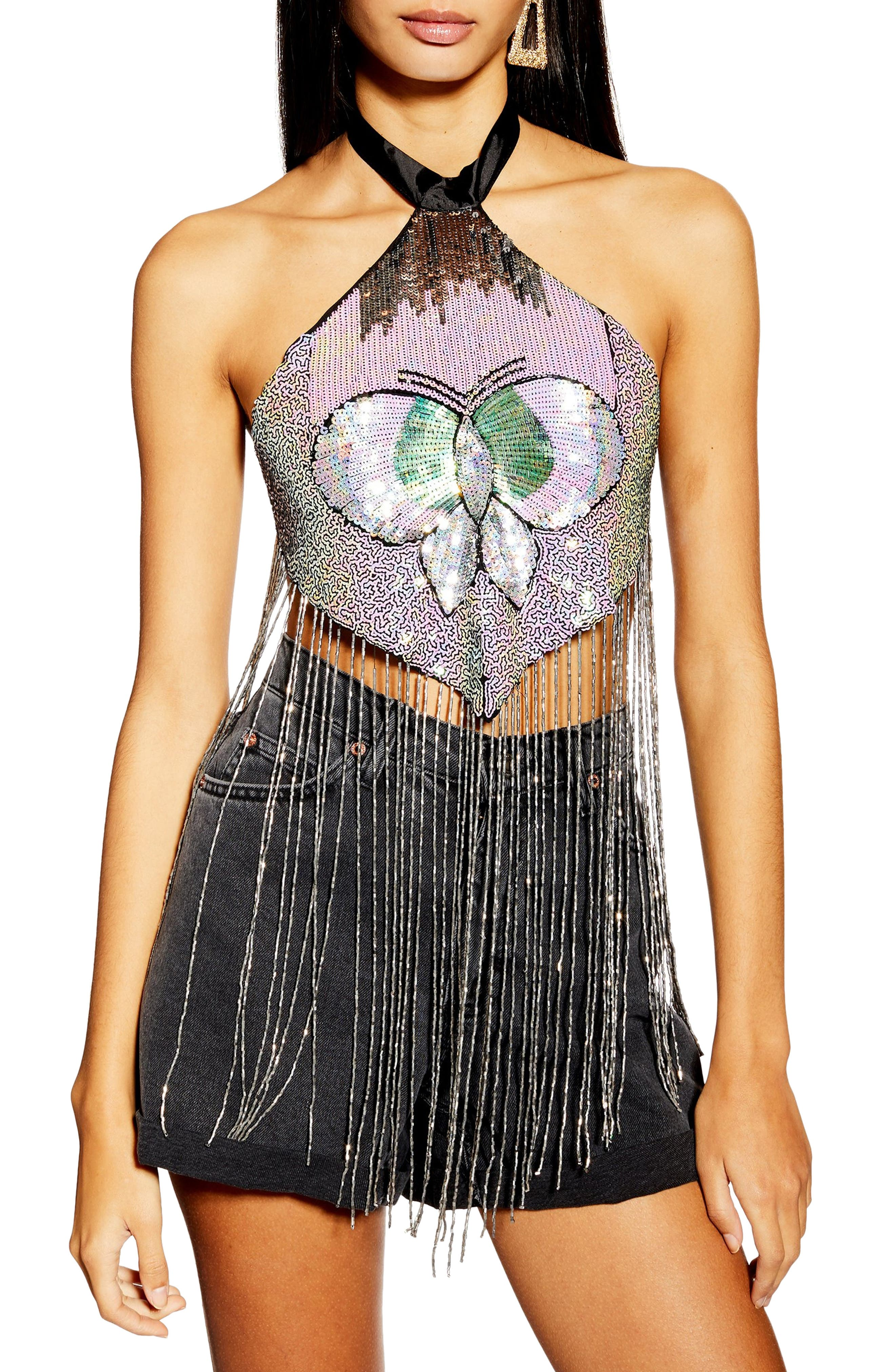 TOPSHOP, Butterfly Halter Top, Main thumbnail 1, color, SILVER MULTI