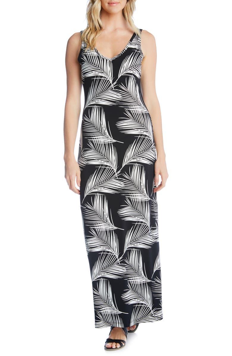Karen Kane Dresses PALM PRINT SIDE SLIT MAXI DRESS