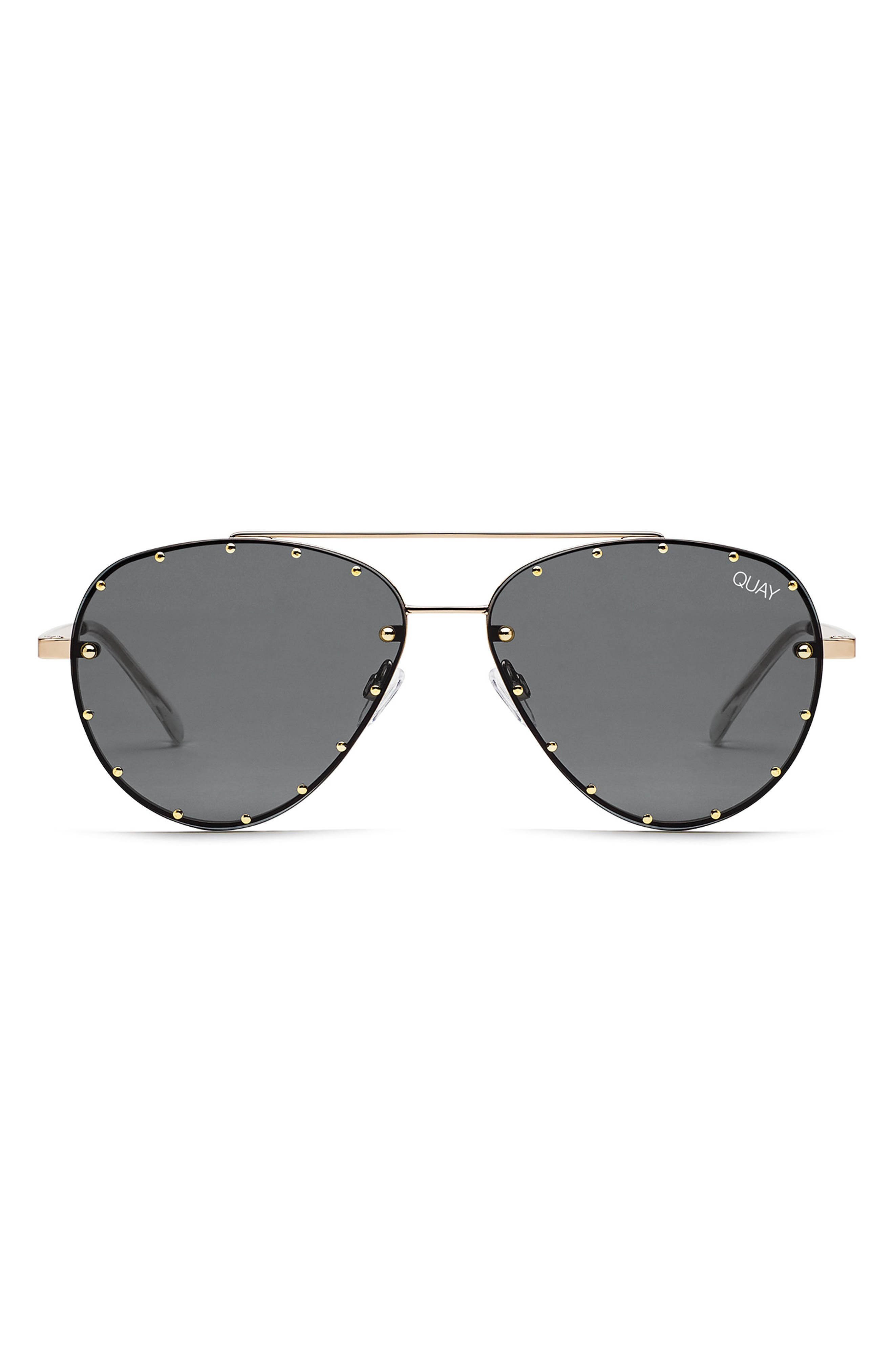 QUAY AUSTRALIA, x Jaclyn Hill Roxanne 62mm Stud Aviator Sunglasses, Alternate thumbnail 2, color, GOLD / SMOKE