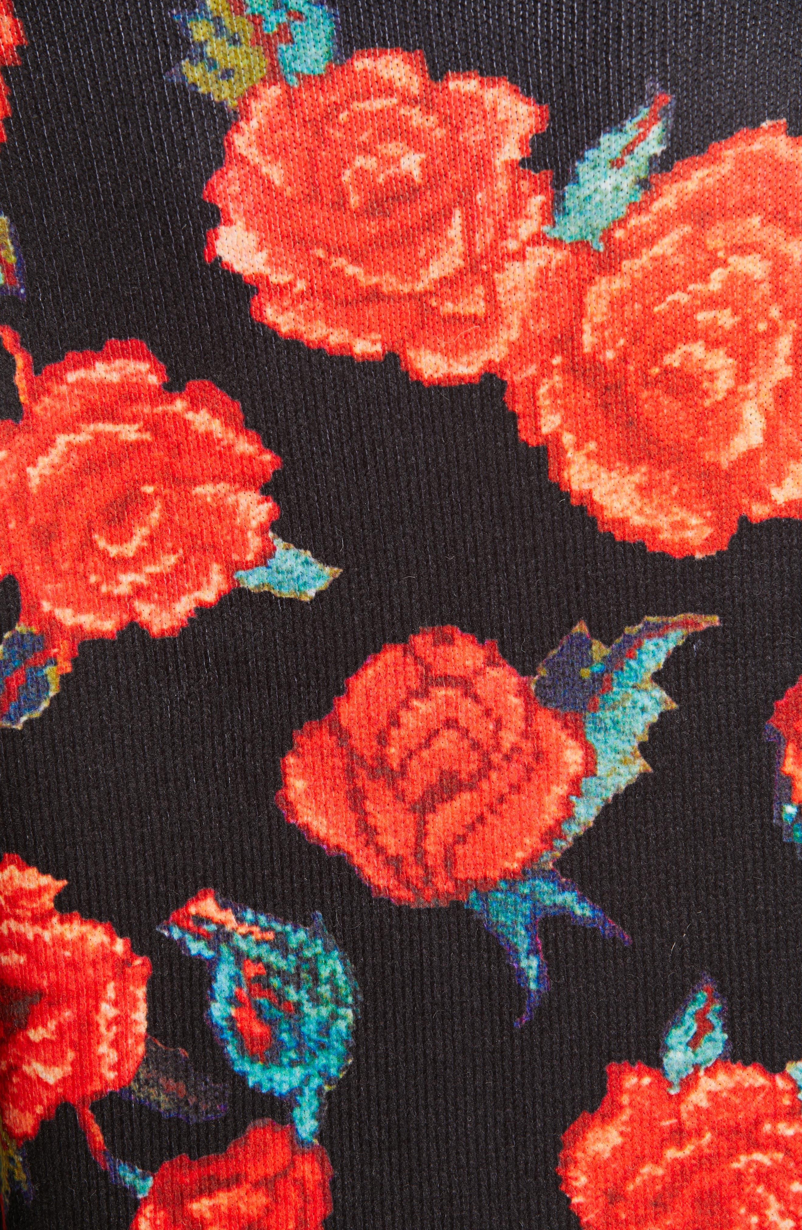 TRICOT COMME DES GARÇONS, Rose Print Cardigan, Alternate thumbnail 6, color, BLACK X TOP GRAY