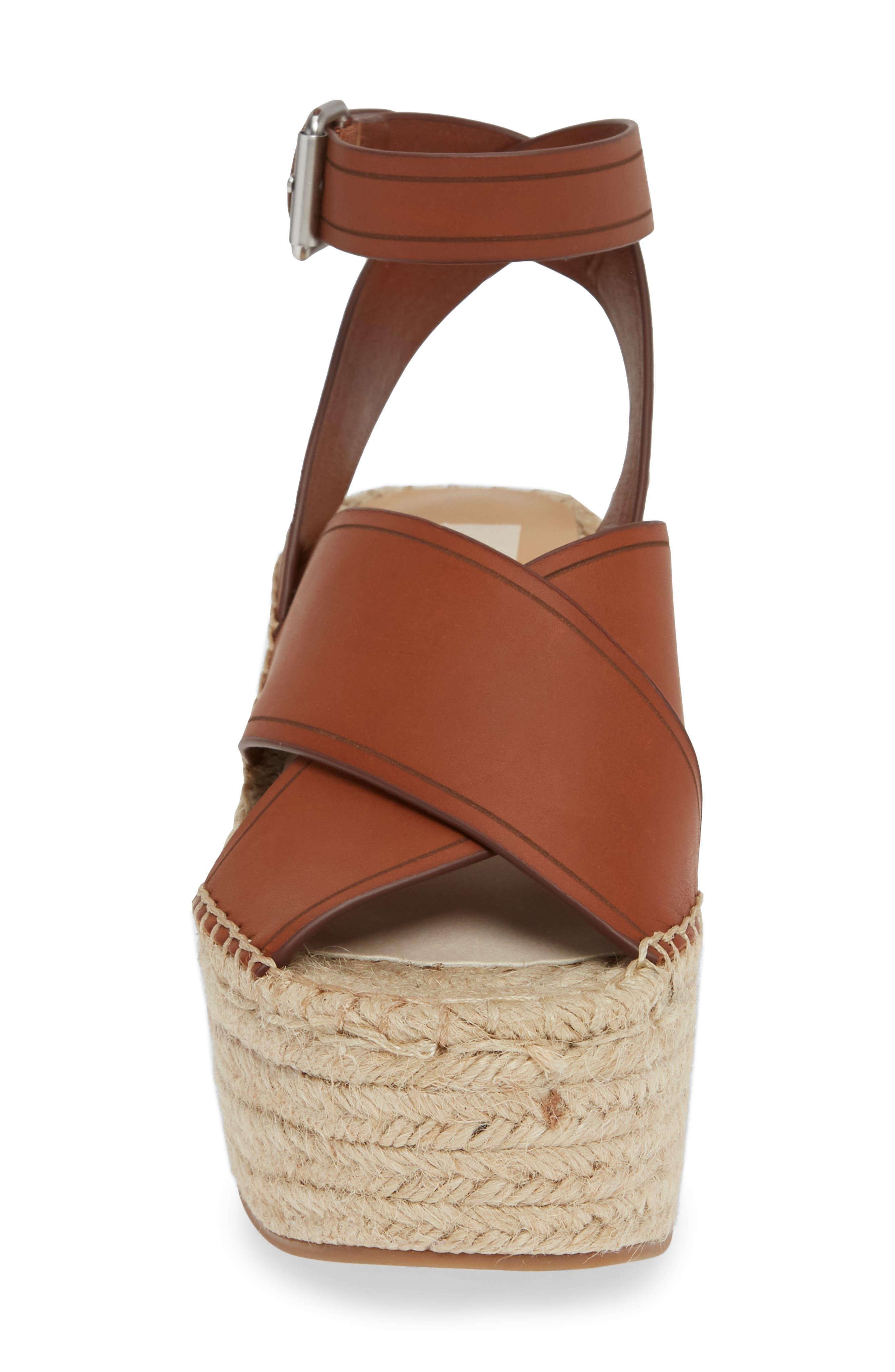 DOLCE VITA, Carsie Platform Sandal, Alternate thumbnail 4, color, BROWN LEATHER