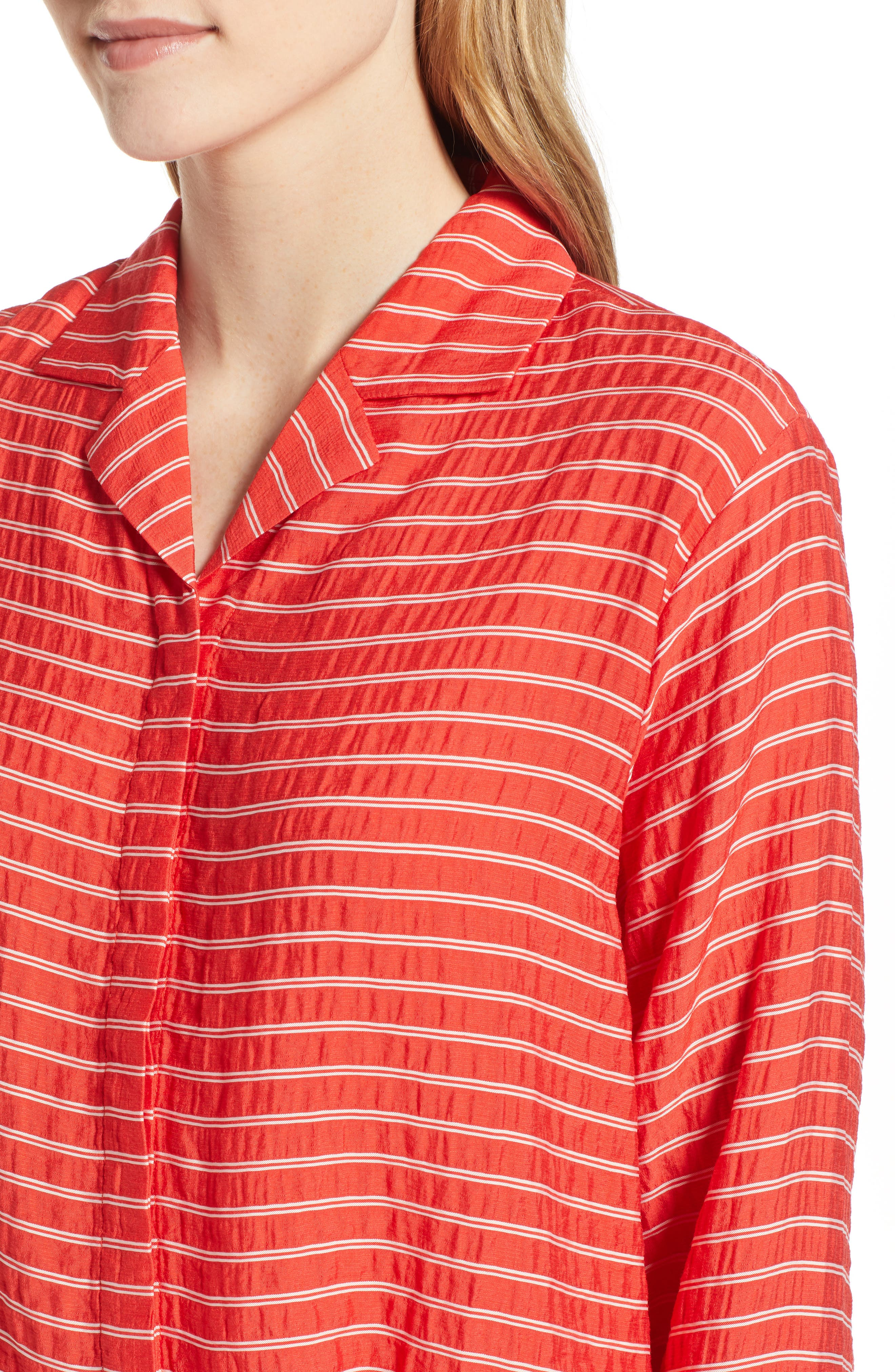 LOU & GREY, Sunny Stripe Drawstring Waist Blouse, Alternate thumbnail 4, color, 600