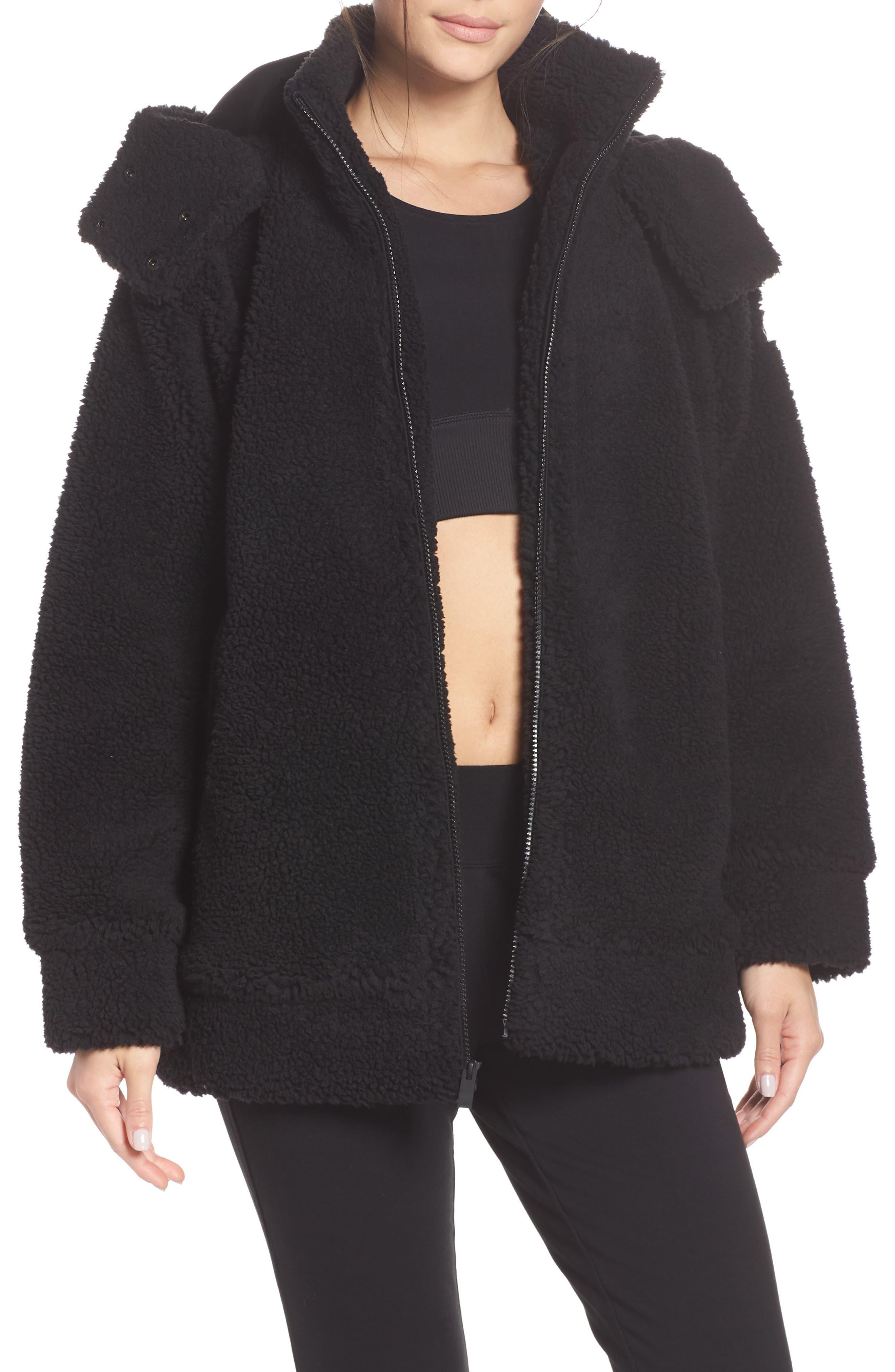 ALO, Norte Faux Fur Coat, Main thumbnail 1, color, BLACK