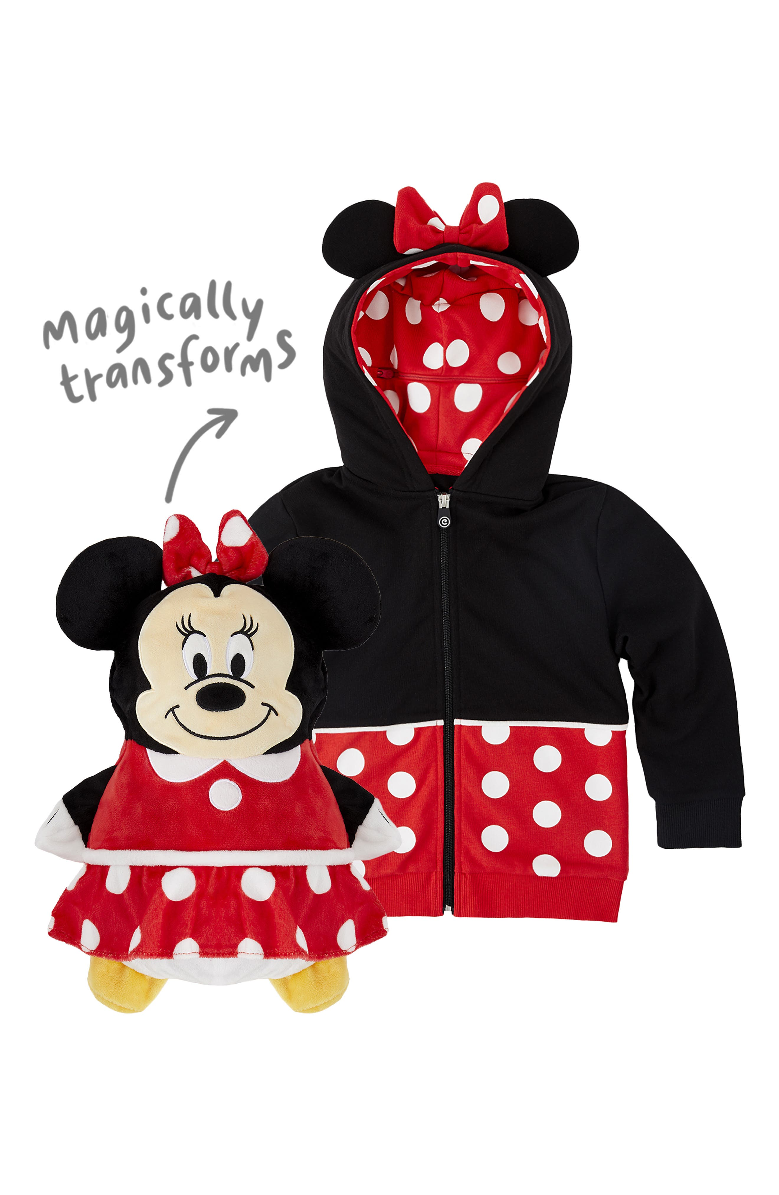 CUBCOATS, Disney Minnie Mouse 2-in-1 Stuffed Animal Hoodie, Alternate thumbnail 3, color, 001