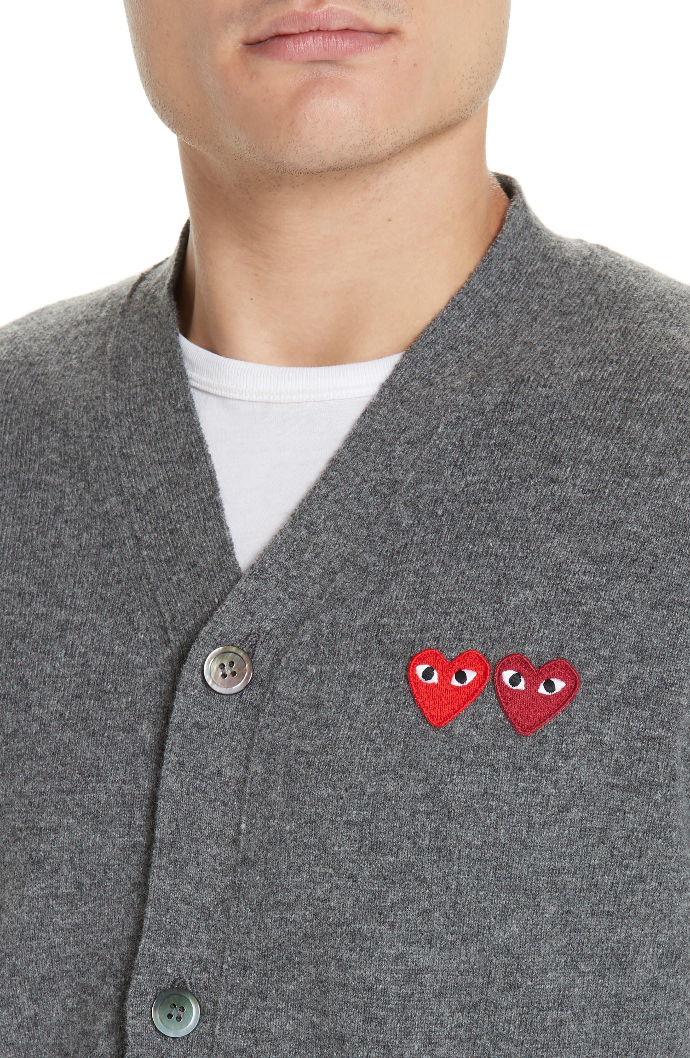 COMME DES GARÇONS PLAY, Double Heart Wool Cardigan, Alternate thumbnail 4, color, 020