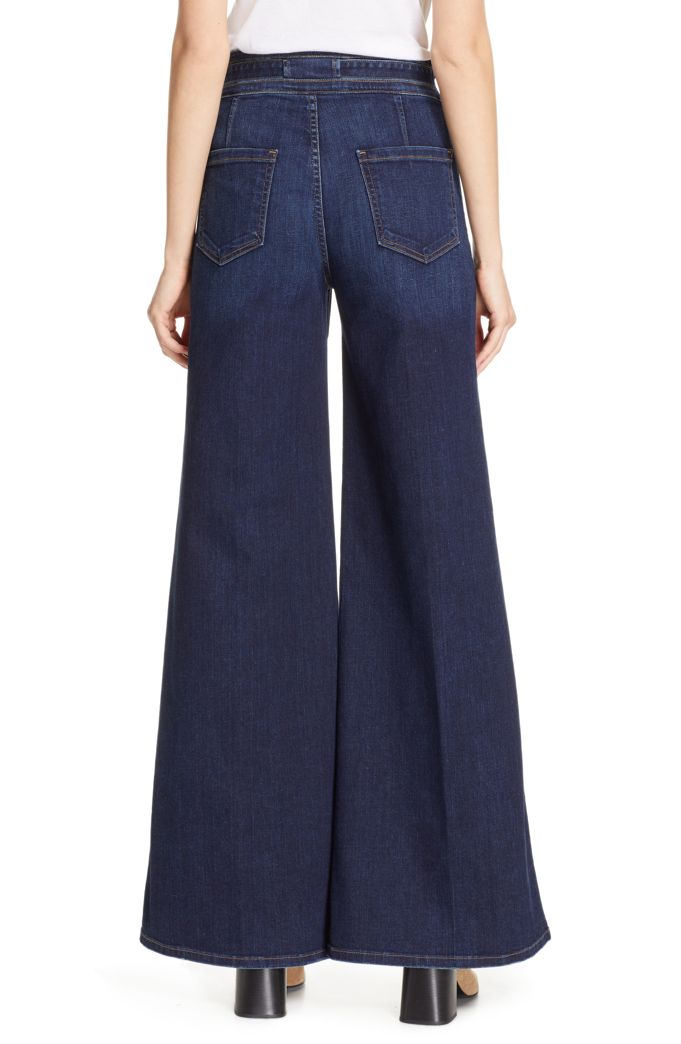 FRAME, Belted Palazzo Jeans, Alternate thumbnail 2, color, MERIBO