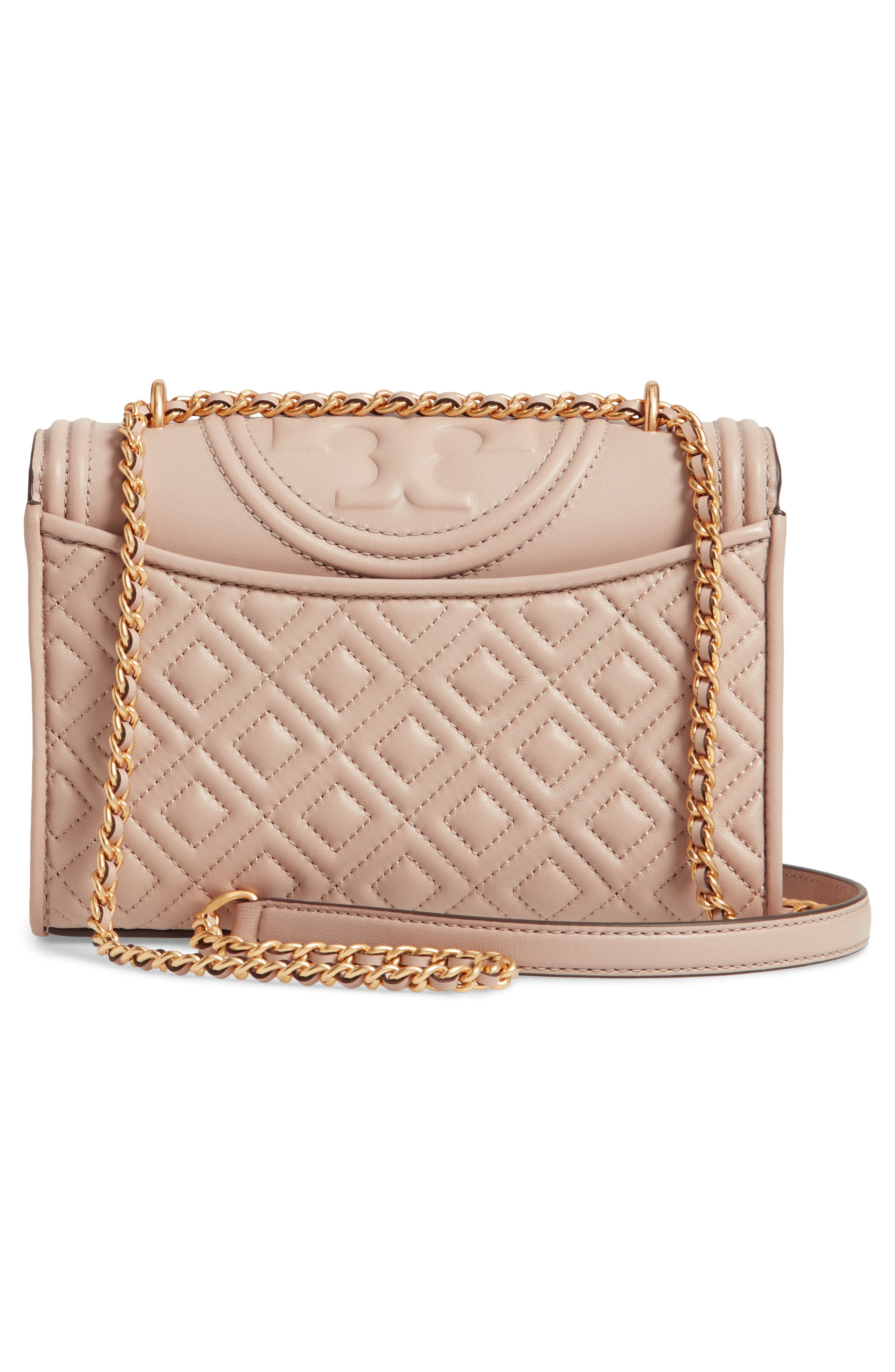 TORY BURCH, Small Fleming Leather Convertible Shoulder Bag, Alternate thumbnail 4, color, LIGHT TAUPE