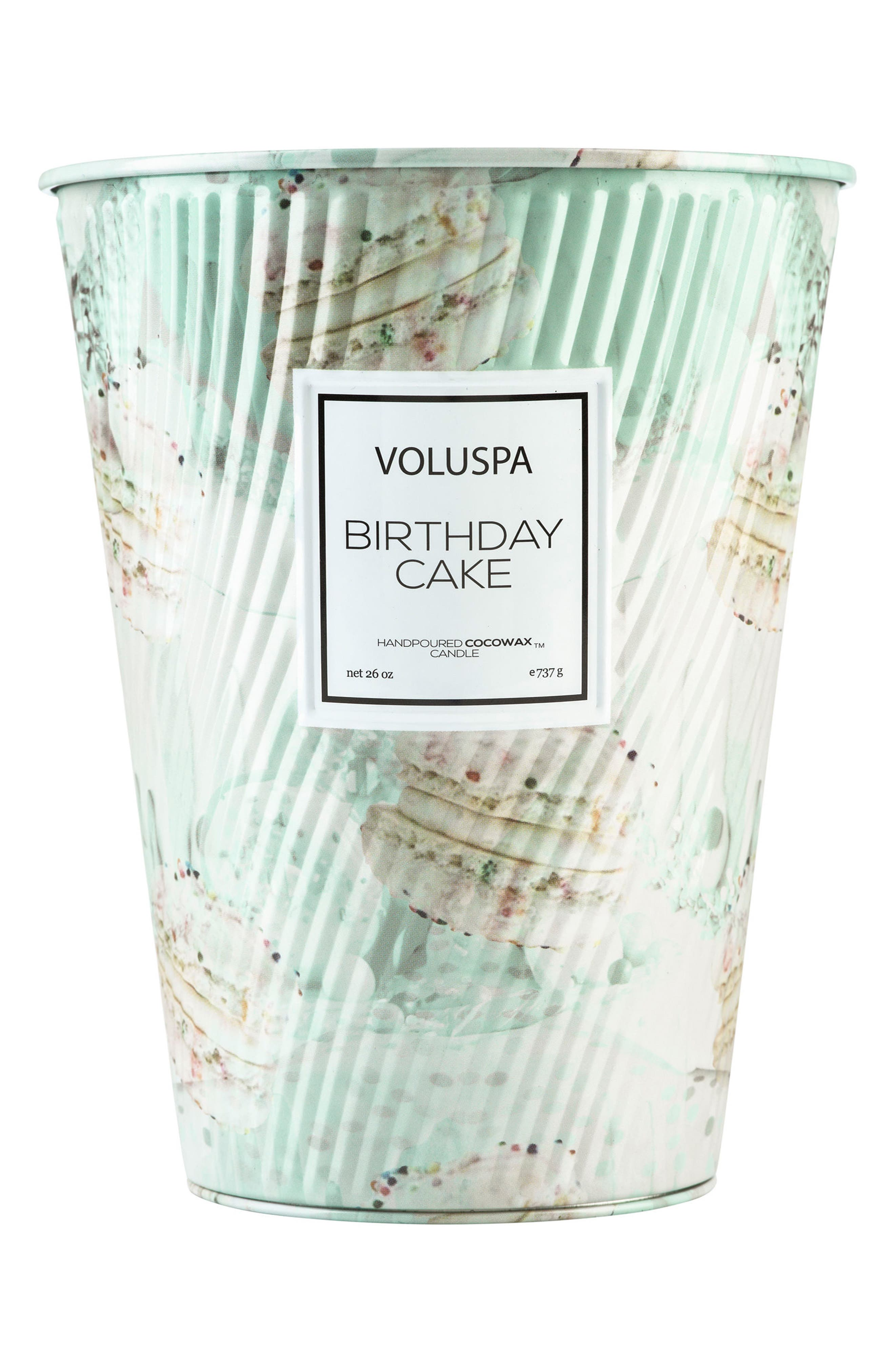 VOLUSPA Macaron Two-Wick Tin Table Candle, Main, color, BIRTHDAY CAKE