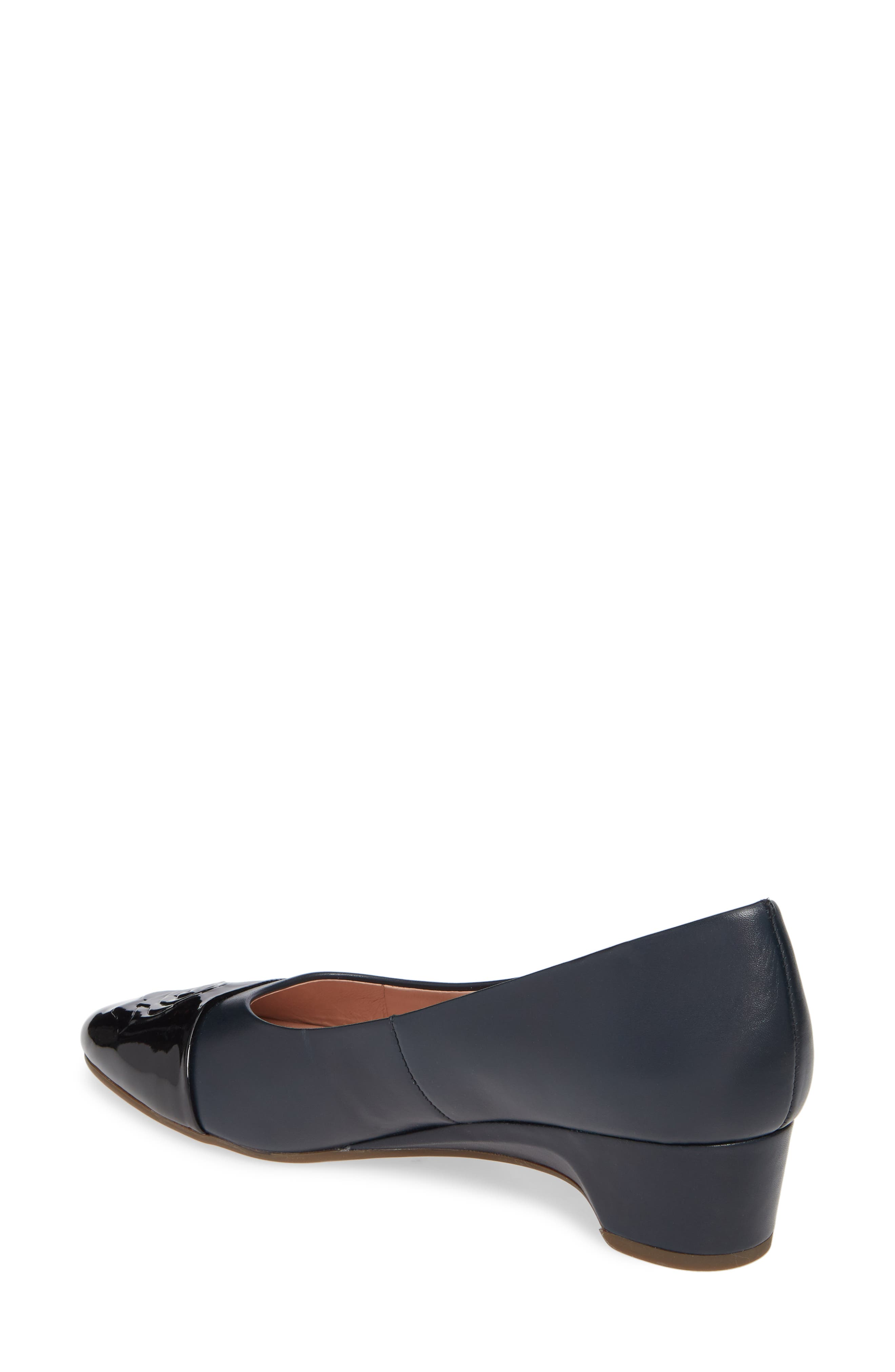 TARYN ROSE, Babe Cap Toe Pump, Alternate thumbnail 2, color, MIDNIGHT/ BLACK LEATHER