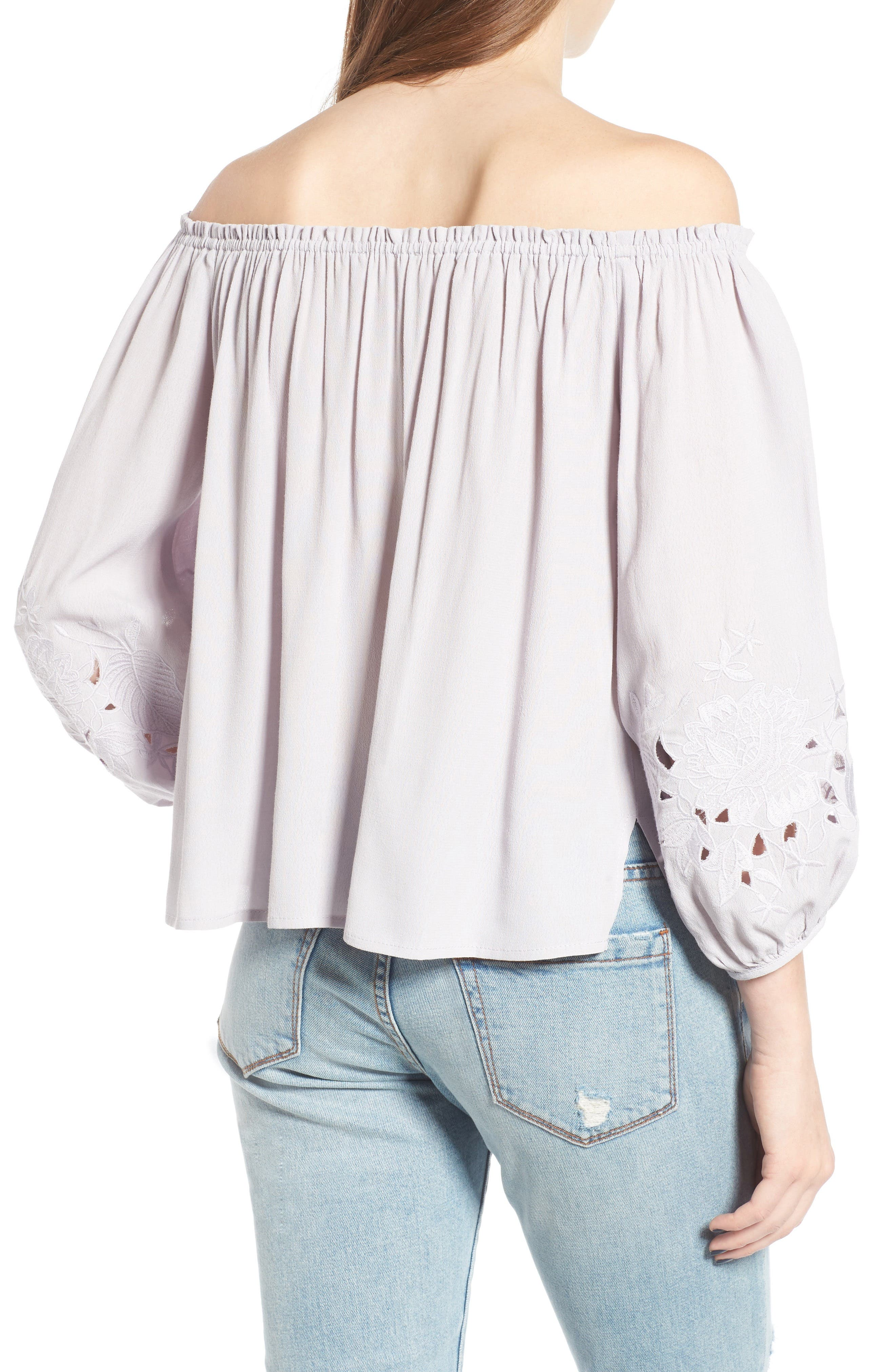 ASTR THE LABEL, Embroidered Off the Shoulder Top, Alternate thumbnail 2, color, 500