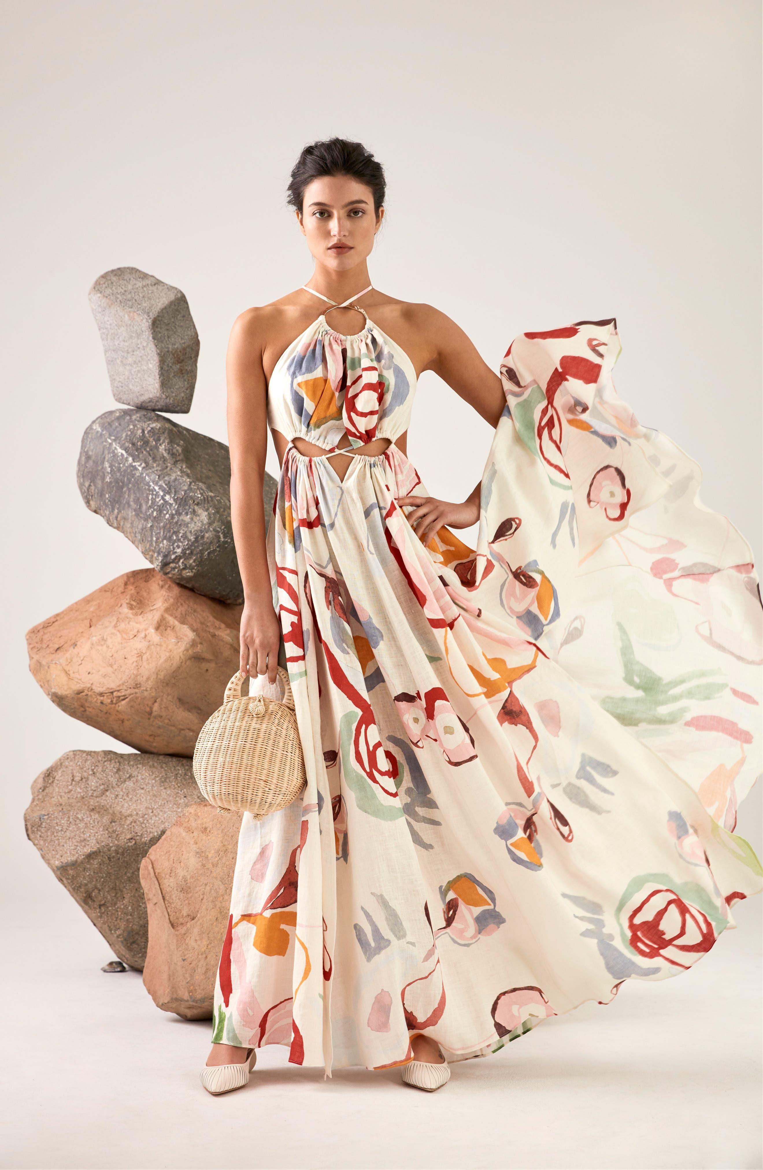 CULT GAIA, Aphrodite Grecian Halter Gown, Alternate thumbnail 3, color, 100