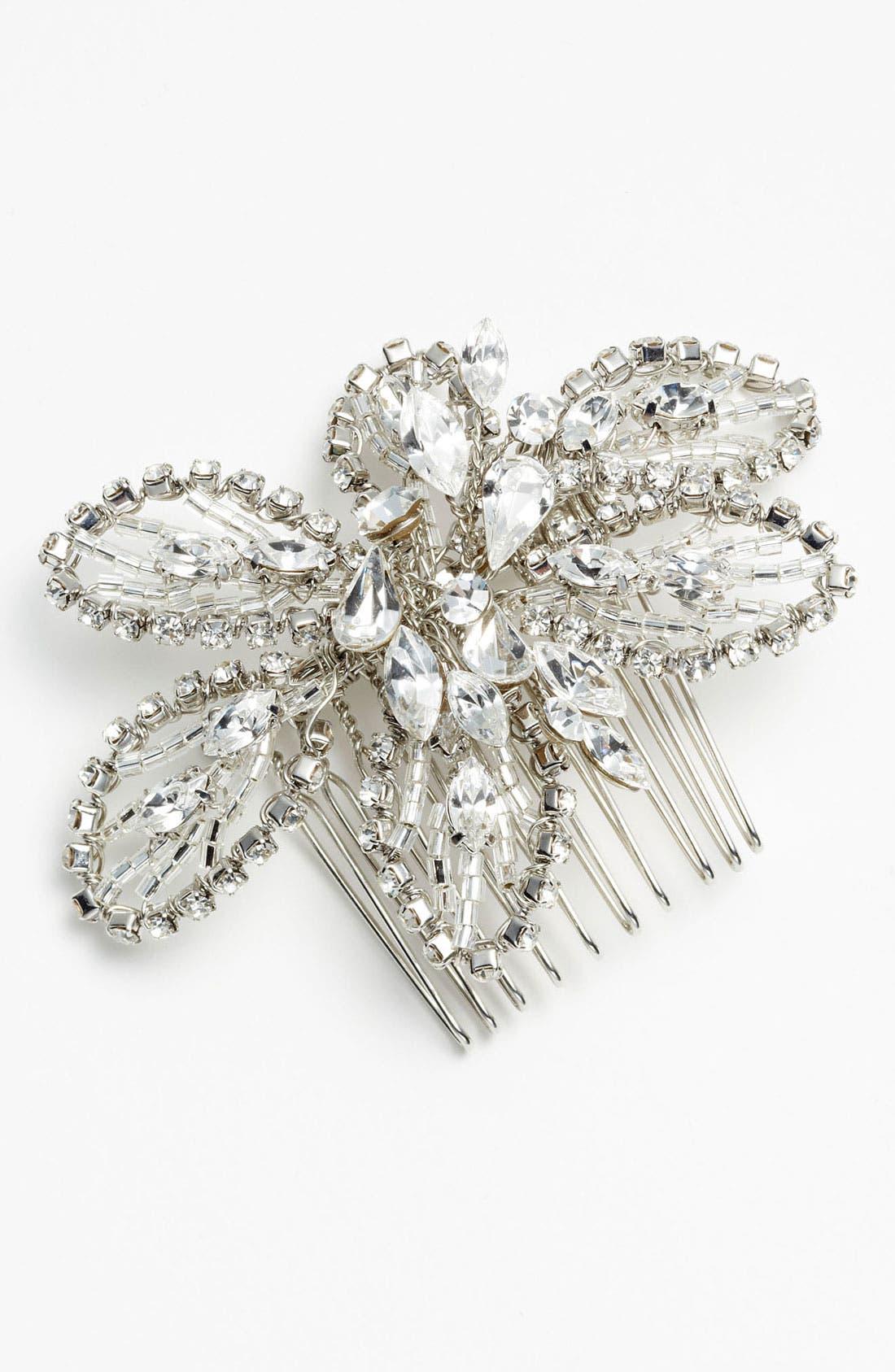 NINA, 'Danai' Flower Crystal Hair Comb, Alternate thumbnail 2, color, 040