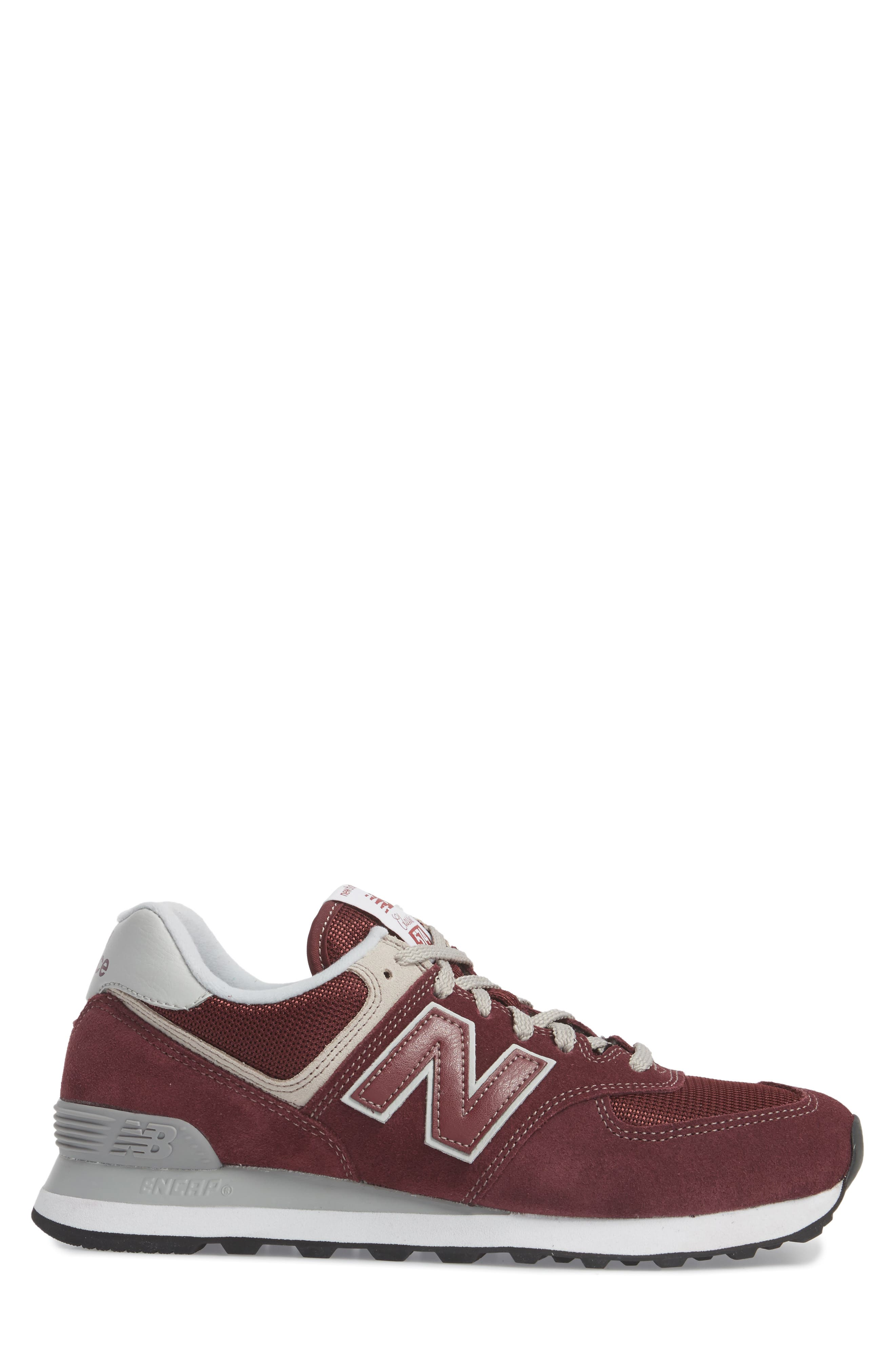 NEW BALANCE, 574 Classic Sneaker, Alternate thumbnail 3, color, BURGUNDY