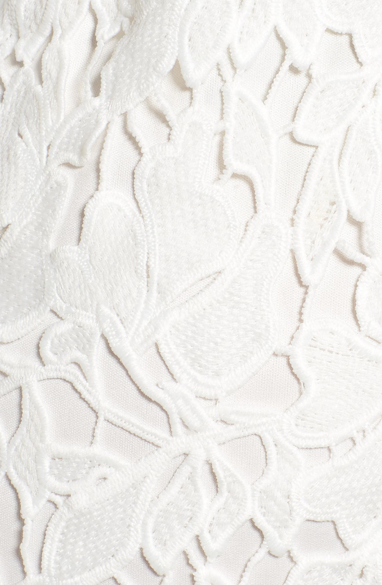 ASTR THE LABEL, ASTR Lace Bodycon Dress, Alternate thumbnail 6, color, WHITE