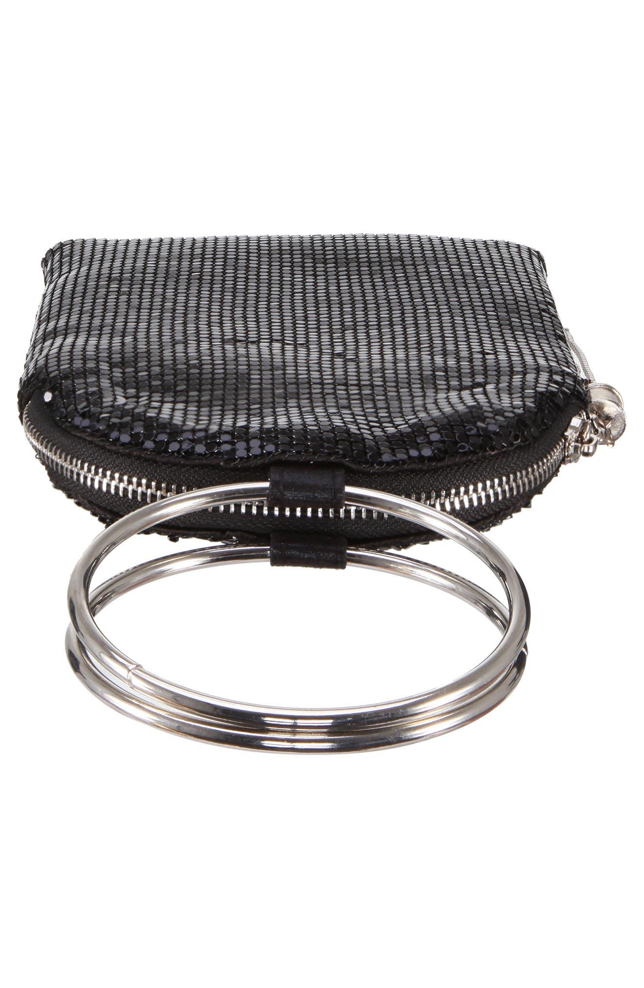 NINA, Metallic Mesh Handbag, Alternate thumbnail 5, color, BLACK