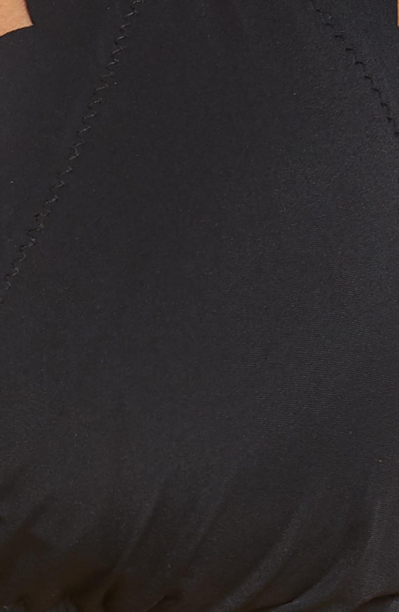 LA BLANCA, Petal Pusher Solid Ruffle Triangle Bikini Top, Alternate thumbnail 6, color, BLACK