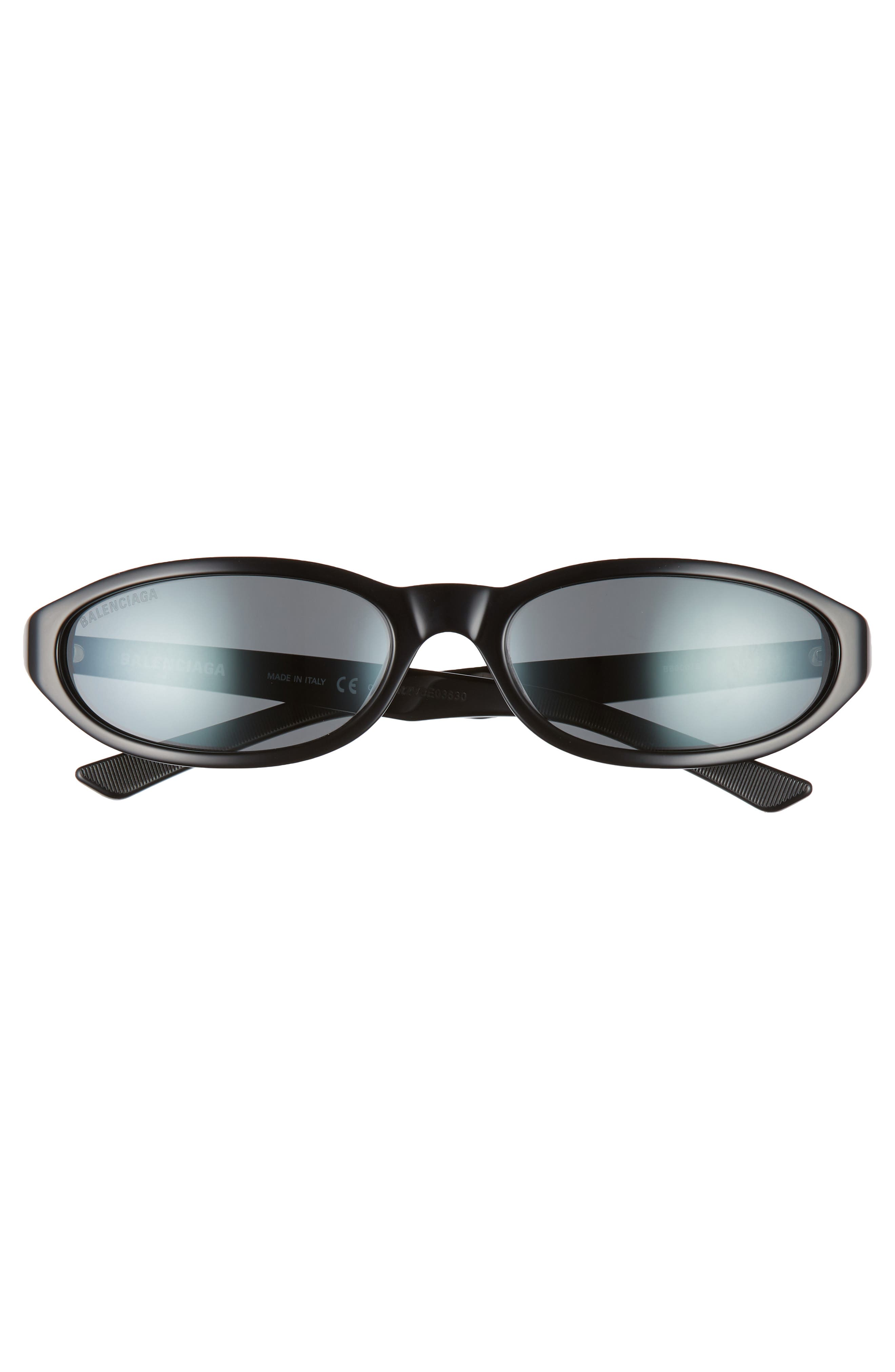 BALENCIAGA, 59mm Cateye Sunglasses, Alternate thumbnail 3, color, SHINY BLACK/ GREY
