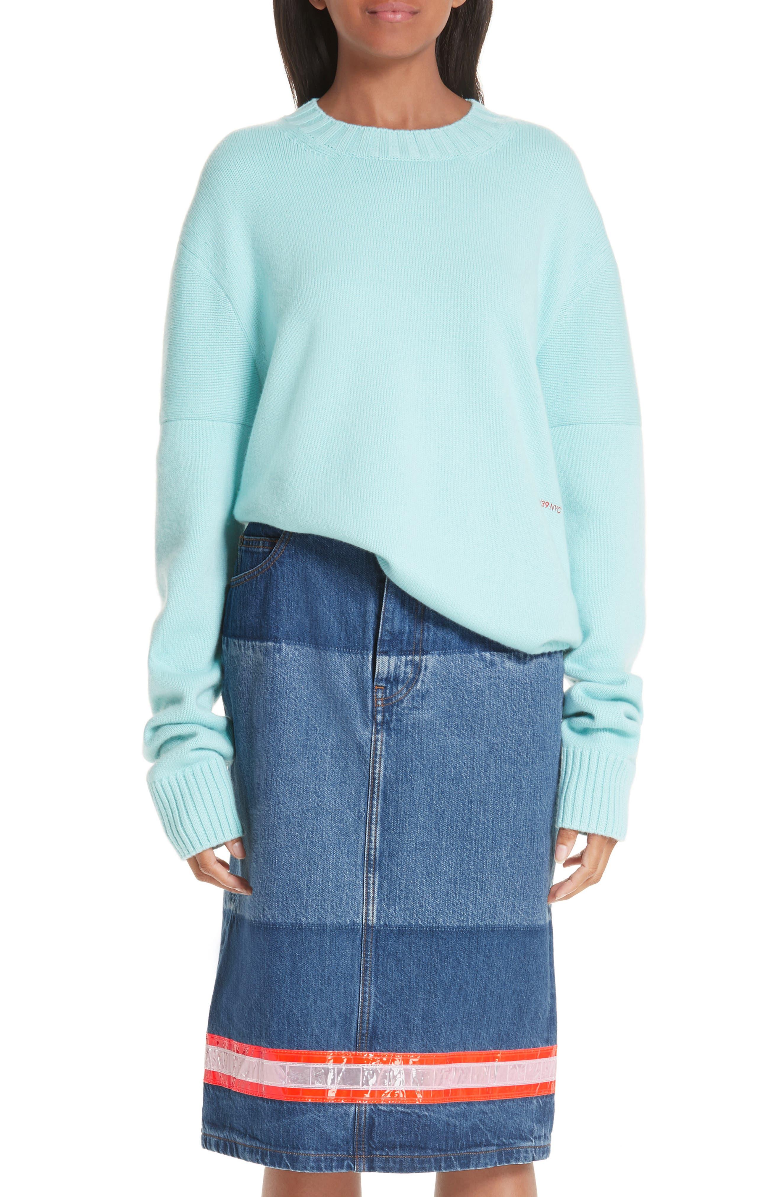 CALVIN KLEIN 205W39NYC, Logo Cashmere Sweater, Main thumbnail 1, color, SKY BLUE
