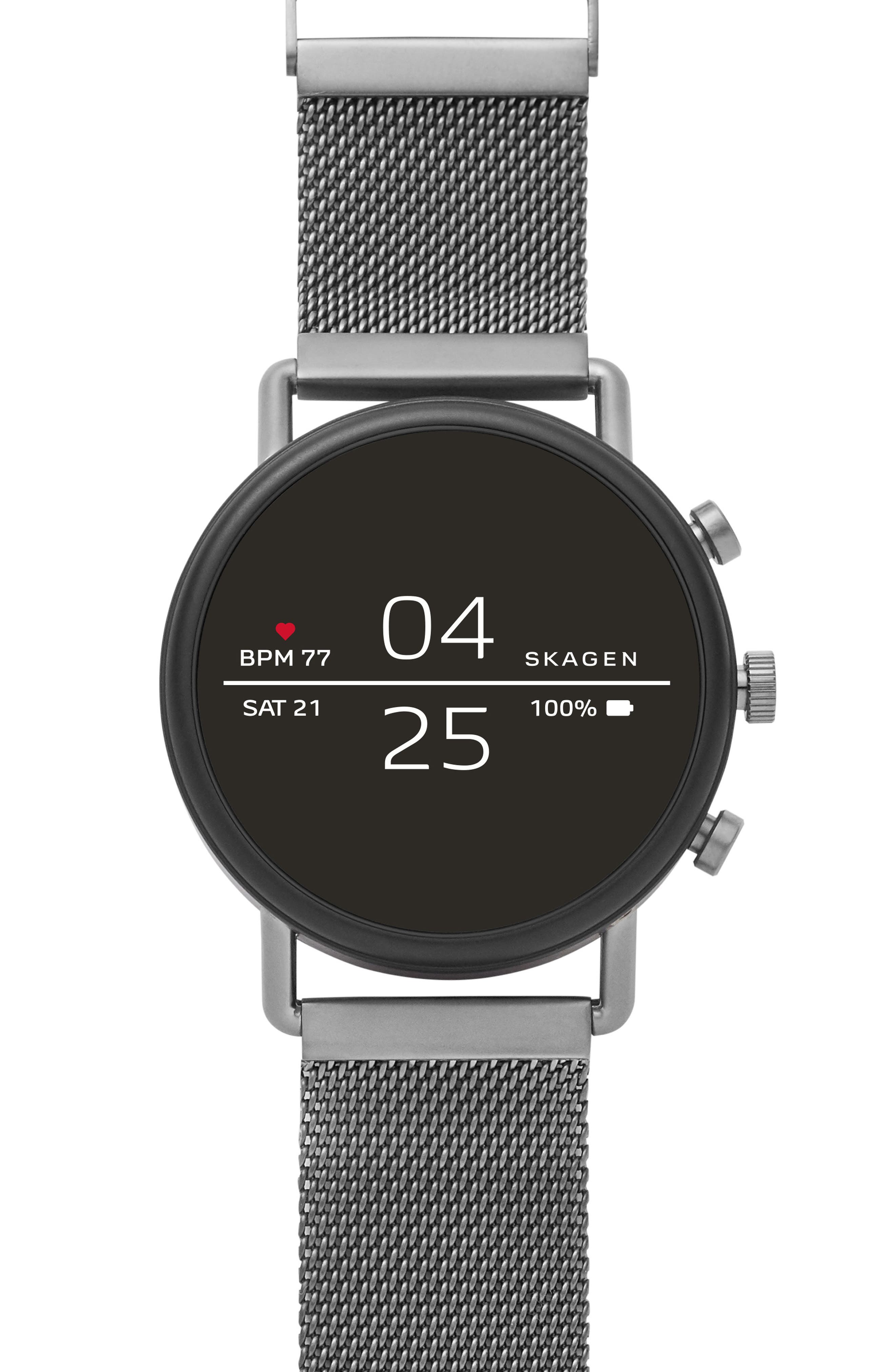 SKAGEN, Falster 2 Touchscreen Mesh Strap Smart Watch, 40mm, Main thumbnail 1, color, GUNMETAL