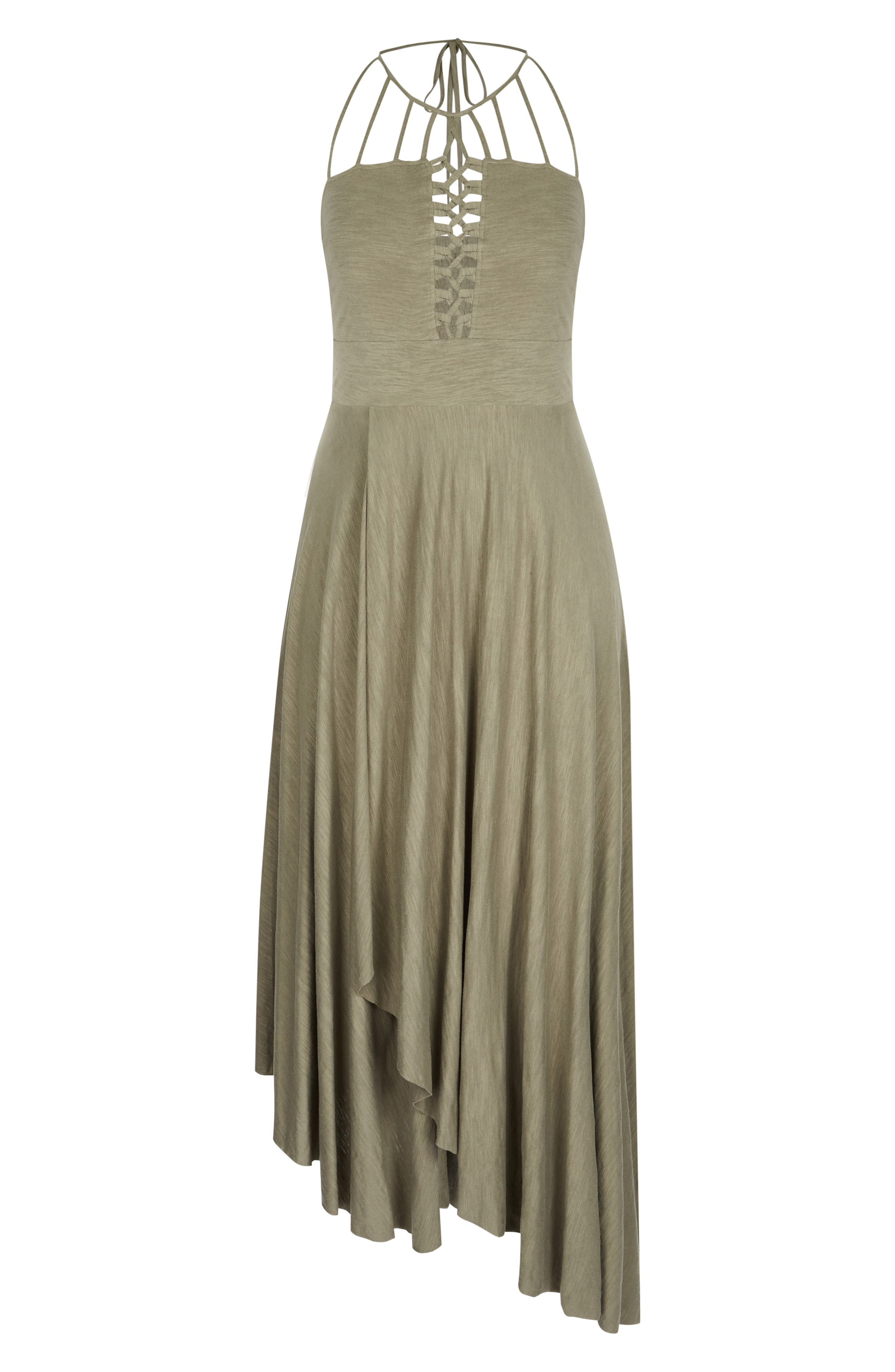 CITY CHIC, Strappy Asymmetrical Faux Wrap Halter Maxi Dress, Alternate thumbnail 3, color, KHAKI
