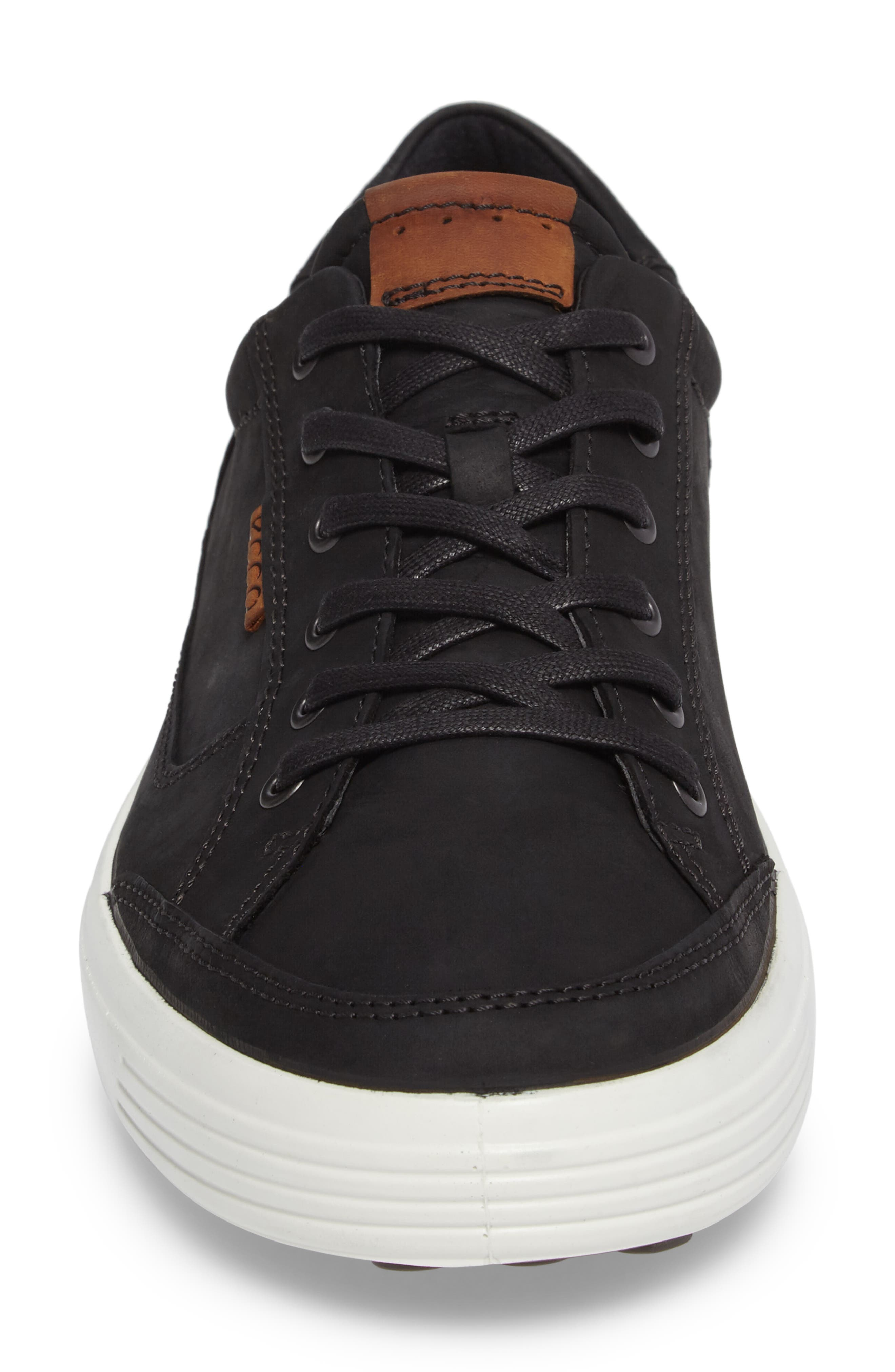 ECCO, Soft 7 Long Lace Sneaker, Alternate thumbnail 4, color, BLACK LEATHER