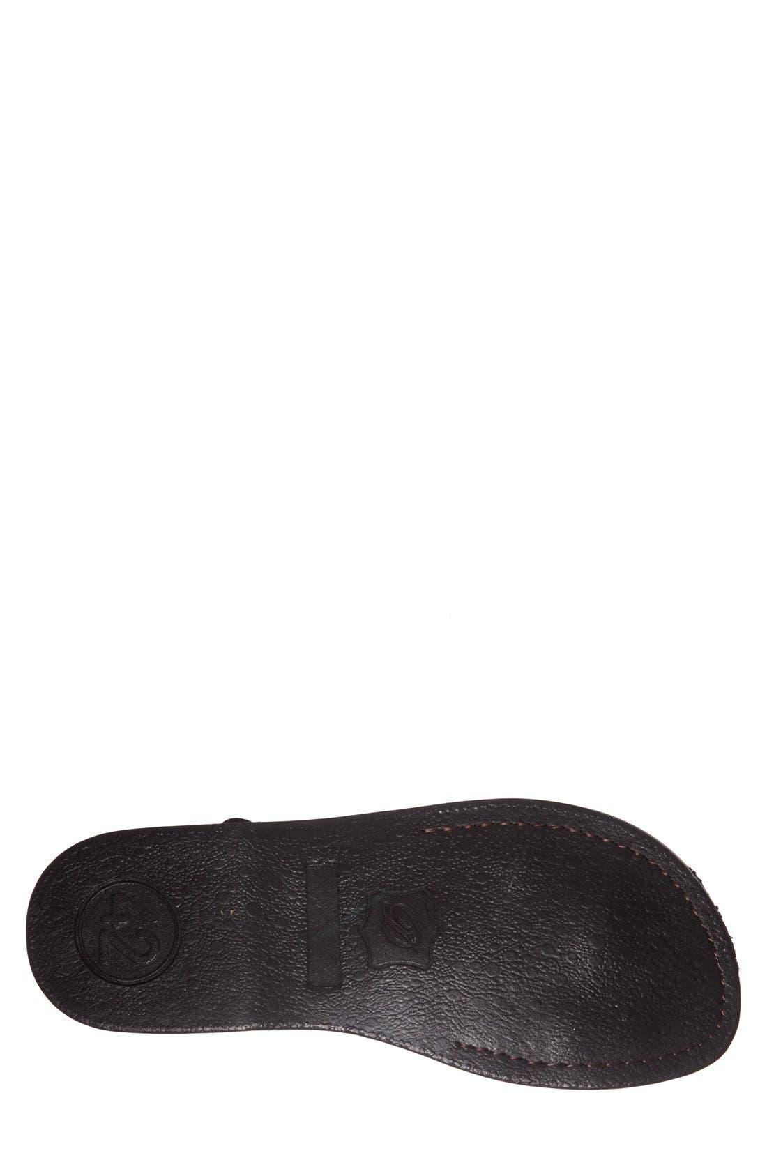 JERUSALEM SANDALS, 'The Good Shepherd' Leather Sandal, Alternate thumbnail 3, color, BLACK
