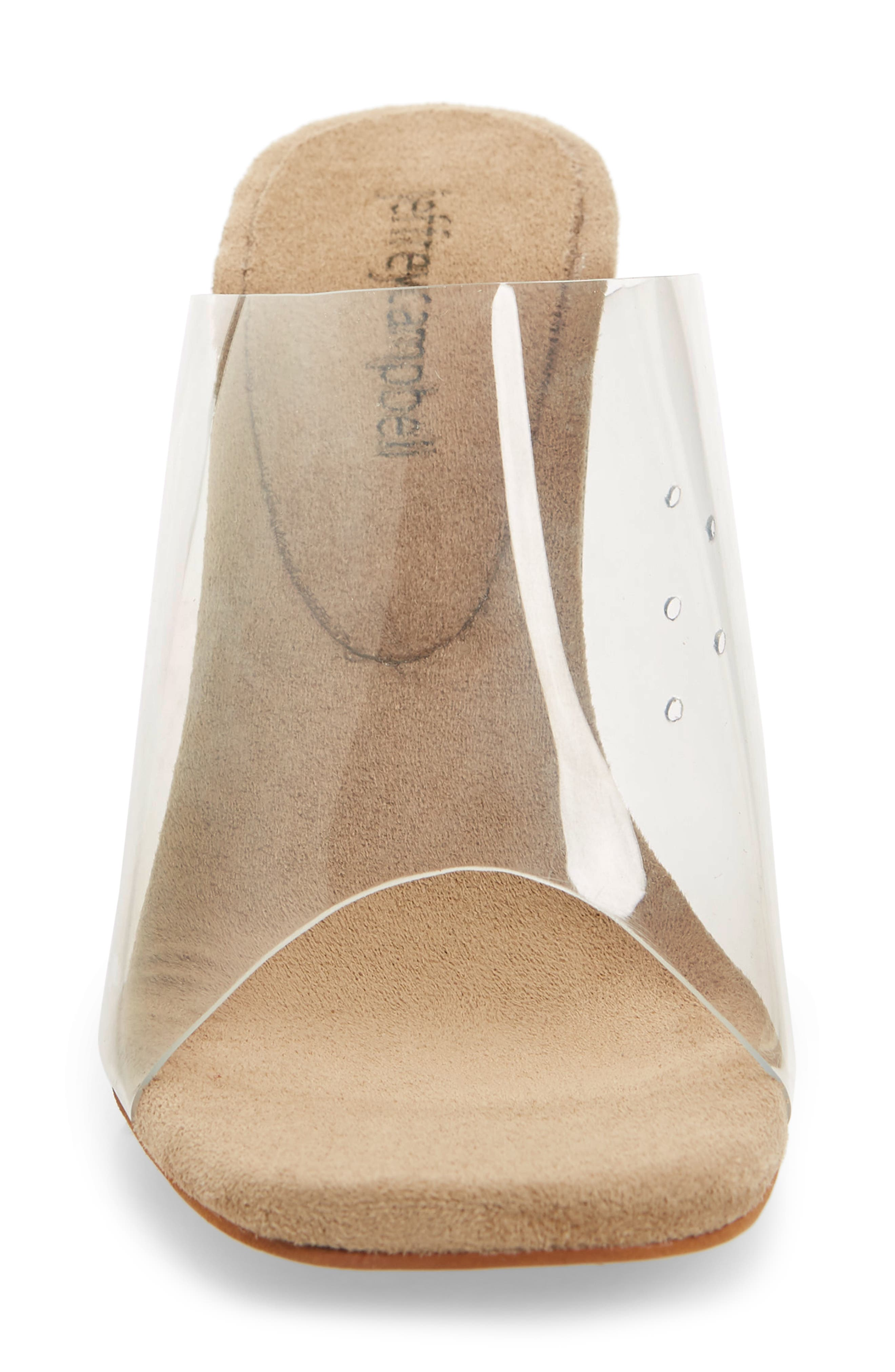 JEFFREY CAMPBELL, Clear Wedge Mule, Alternate thumbnail 4, color, CLEAR FAUX LEATHER