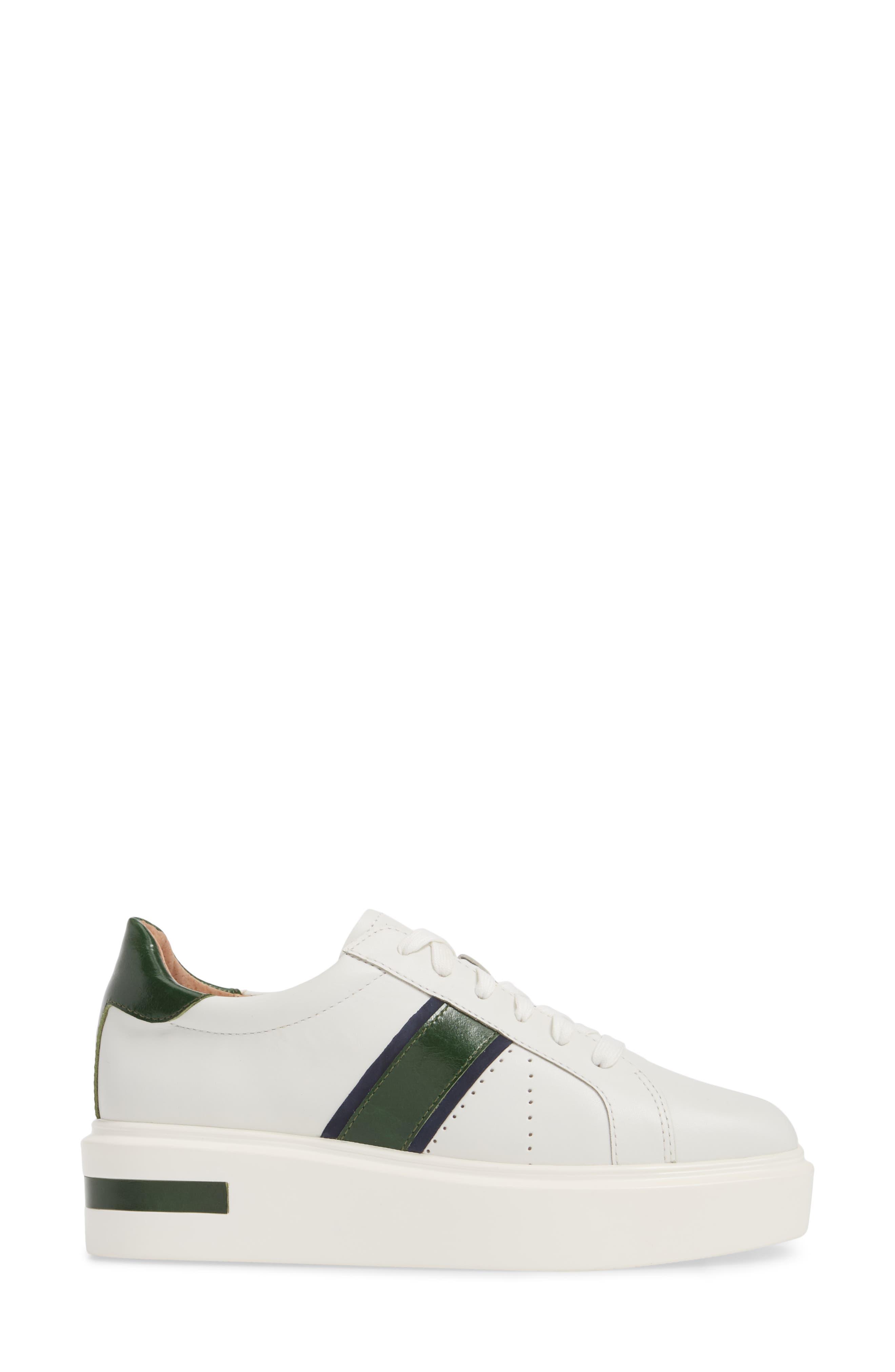 LINEA PAOLO, Knox Platform Sneaker, Alternate thumbnail 3, color, WHITE LEATHER
