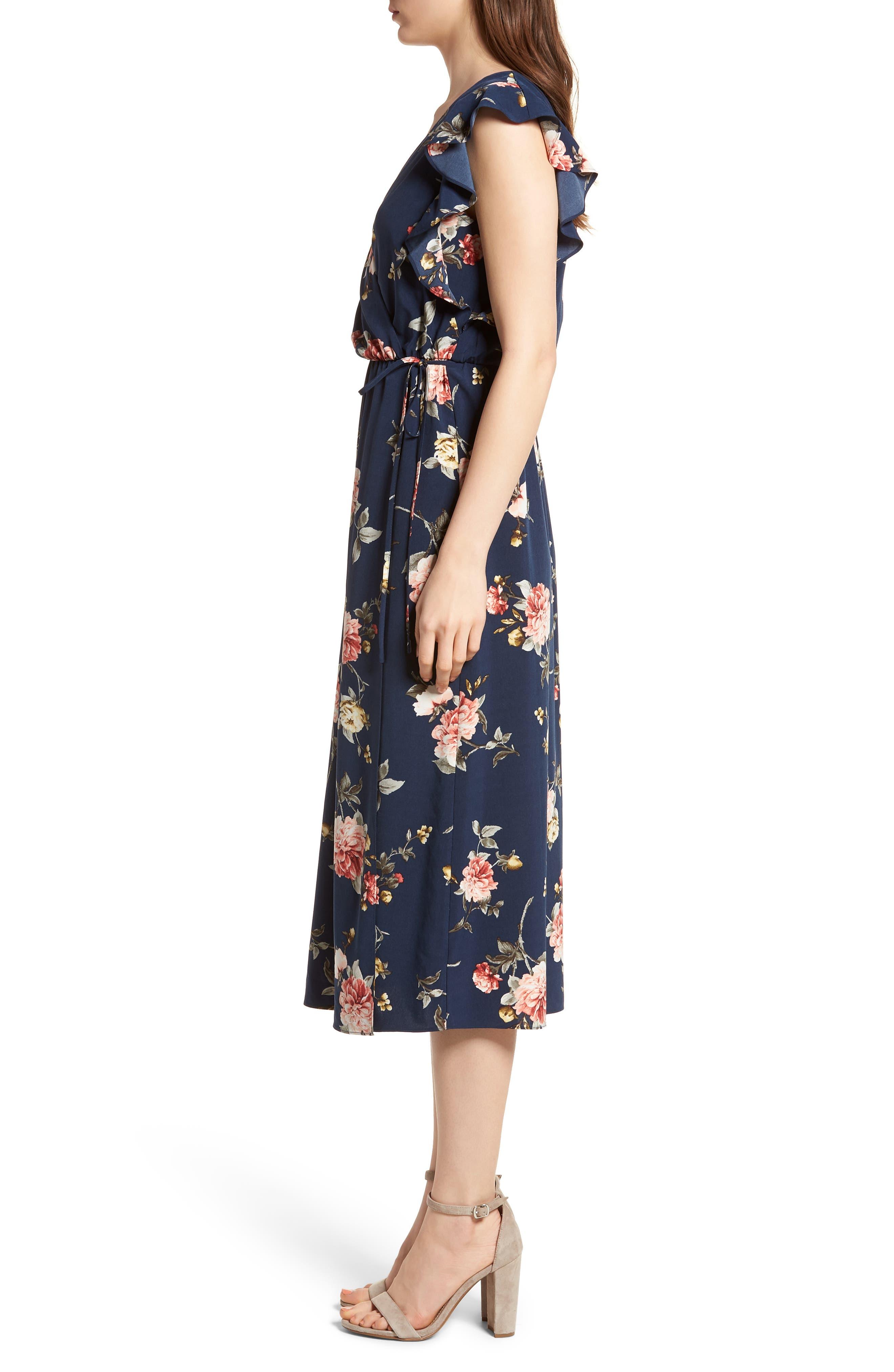 SOPRANO, Wrap Midi Dress, Alternate thumbnail 3, color, 400