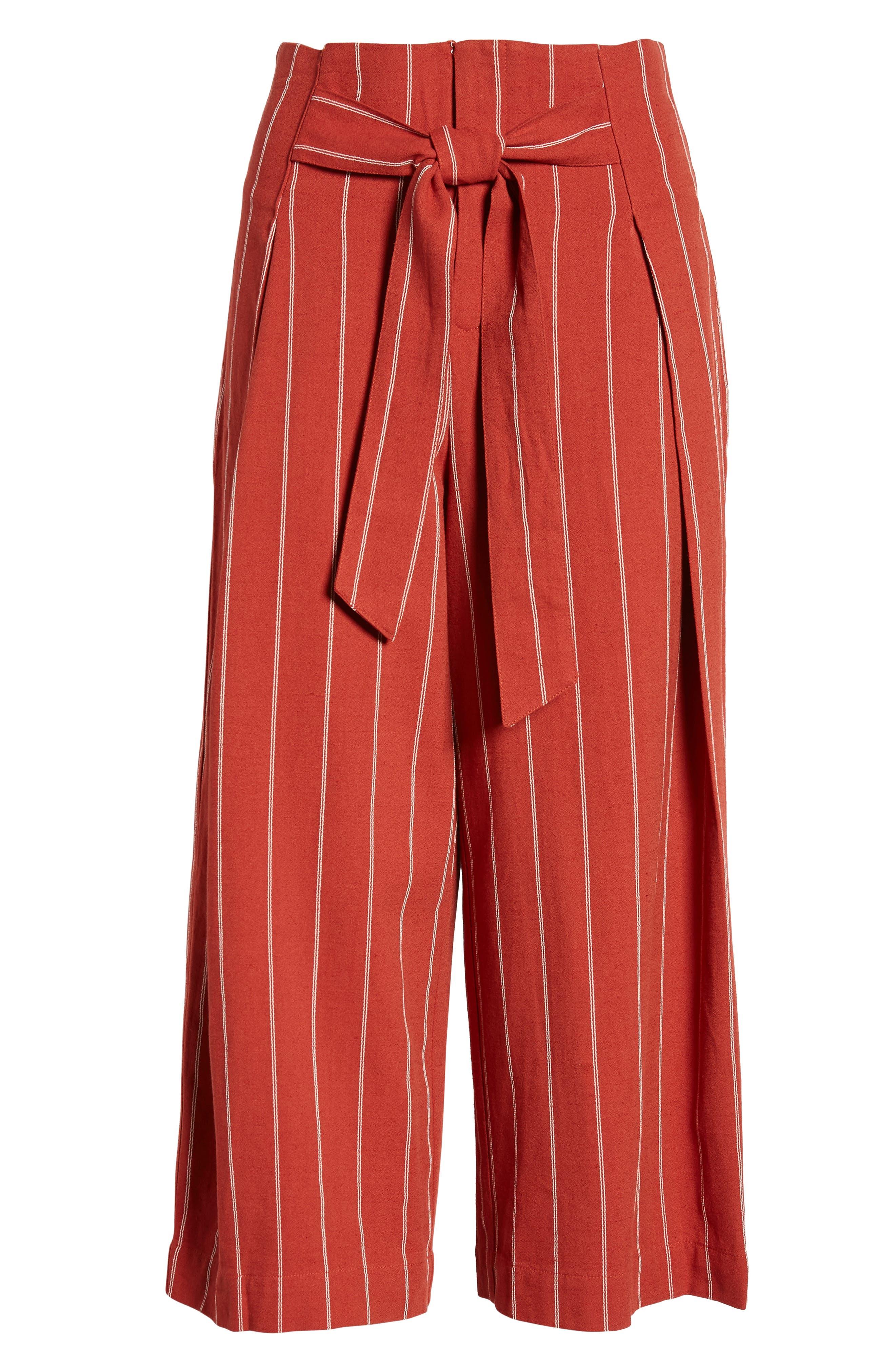 J.O.A., Wide Leg Linen & Cotton Pants, Alternate thumbnail 7, color, BRICK STRIPE