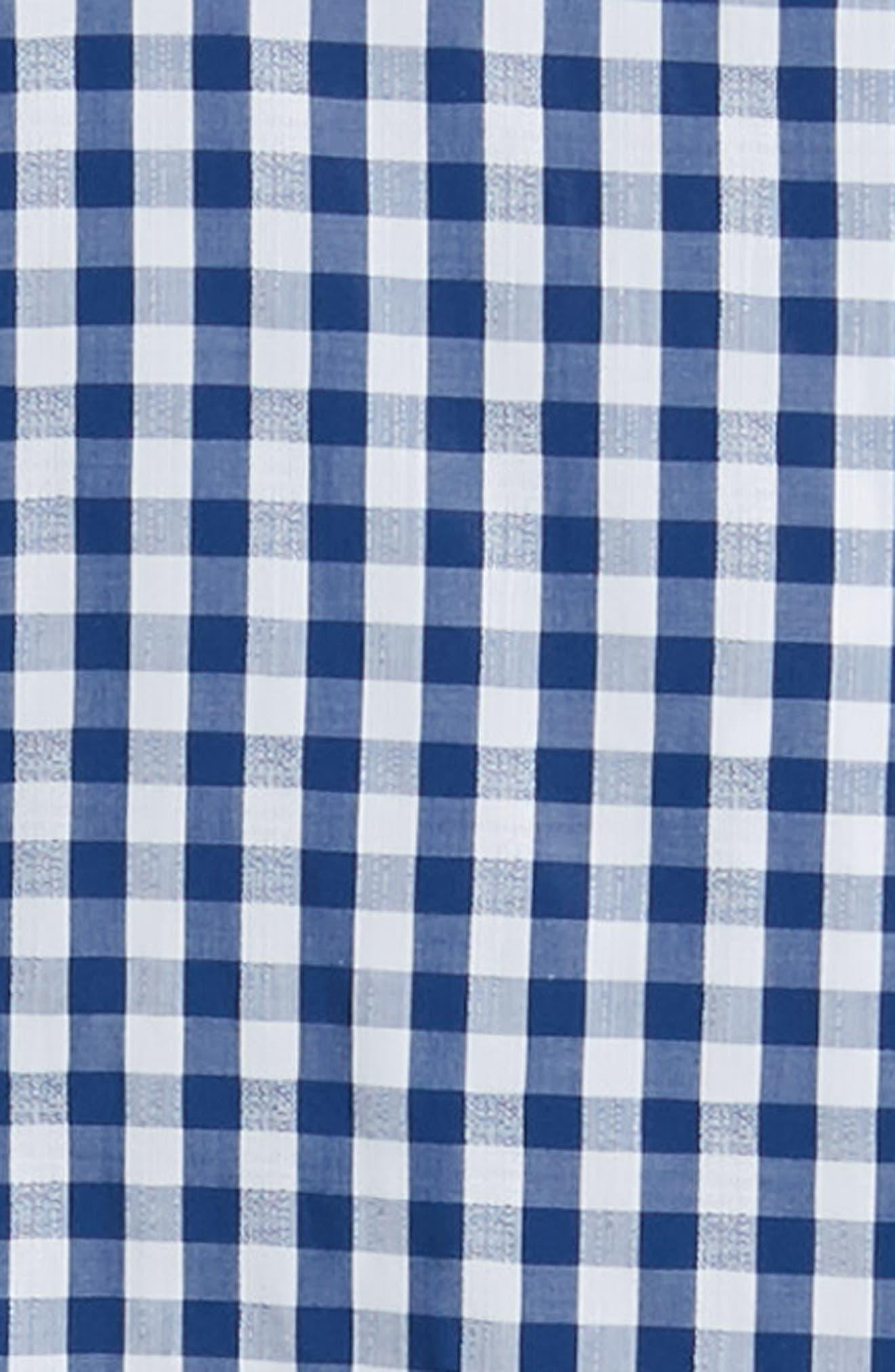 1901, Trim Fit Check Dress Shirt, Alternate thumbnail 6, color, BLUE CASPIA