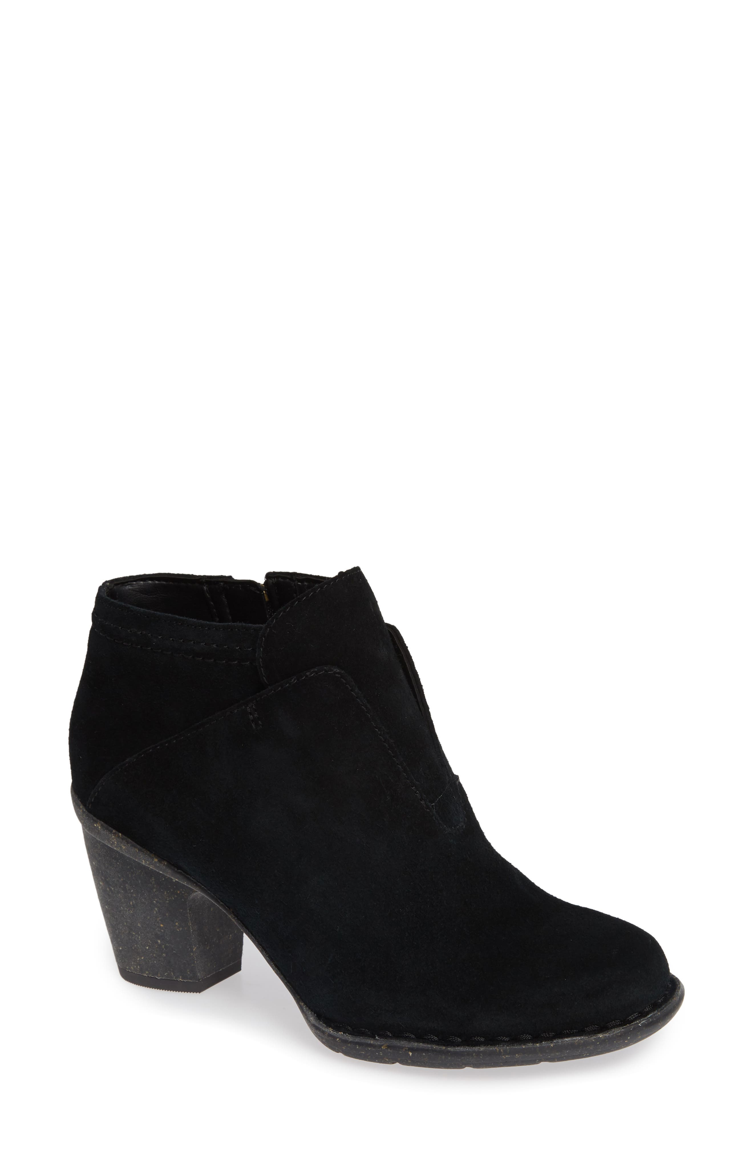 CLARKS<SUP>®</SUP>, Carleta York Bootie, Main thumbnail 1, color, BLACK SUEDE