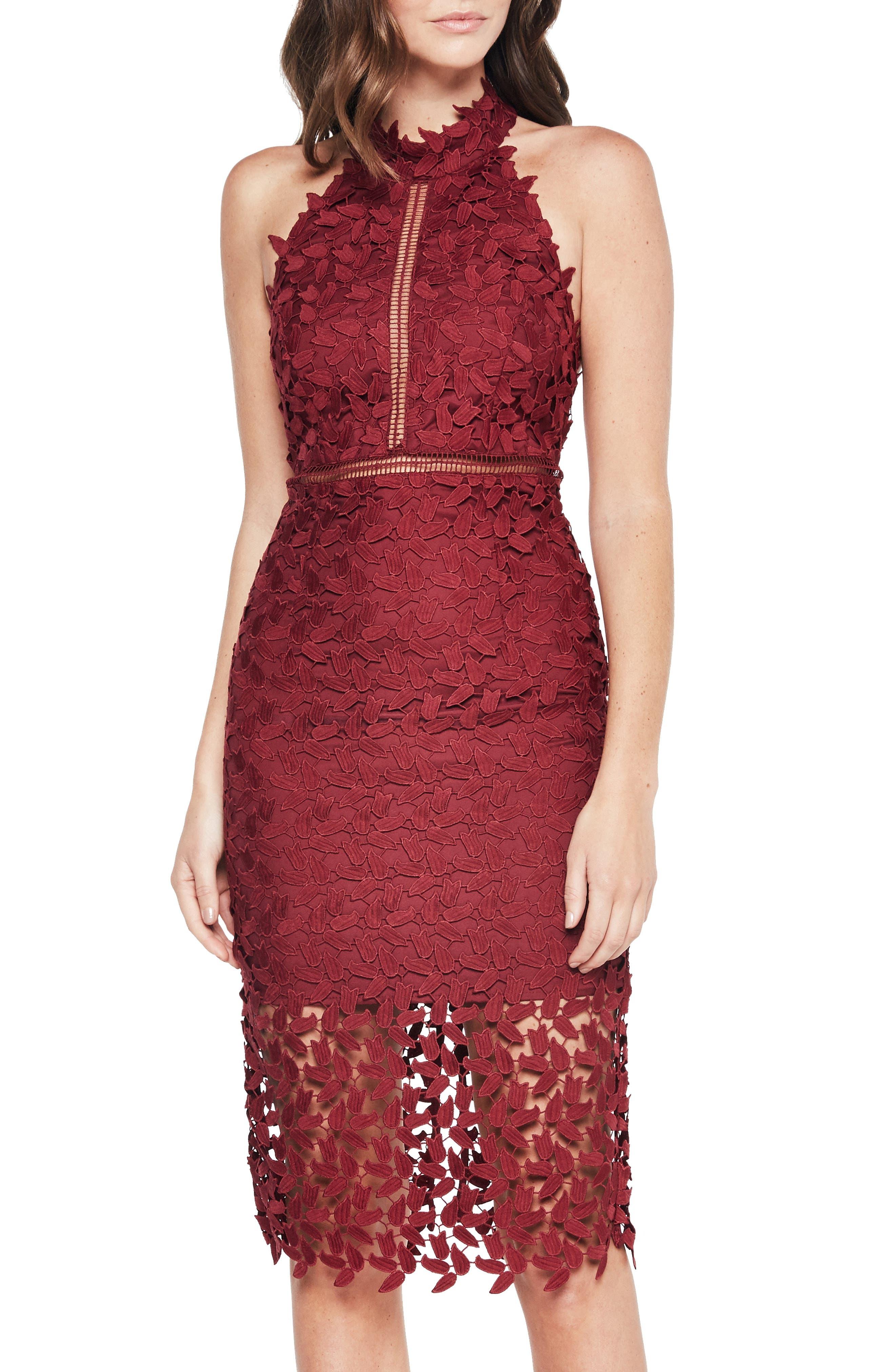 BARDOT, Gemma Halter Lace Sheath Dress, Alternate thumbnail 5, color, BURGUNDY