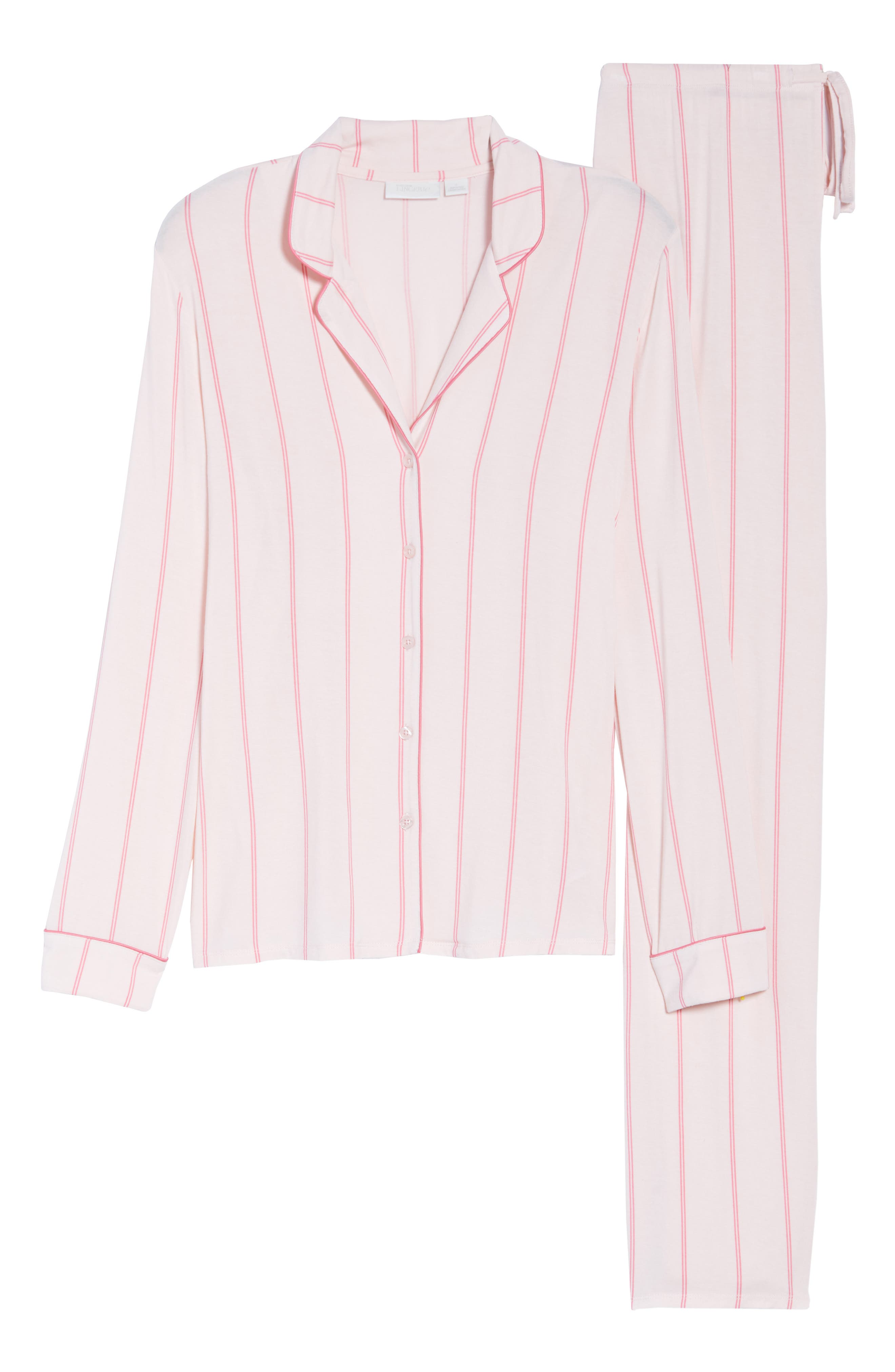 NORDSTROM LINGERIE, Moonlight Pajamas, Alternate thumbnail 6, color, PINK CRYSTAL MICRO STRIPE