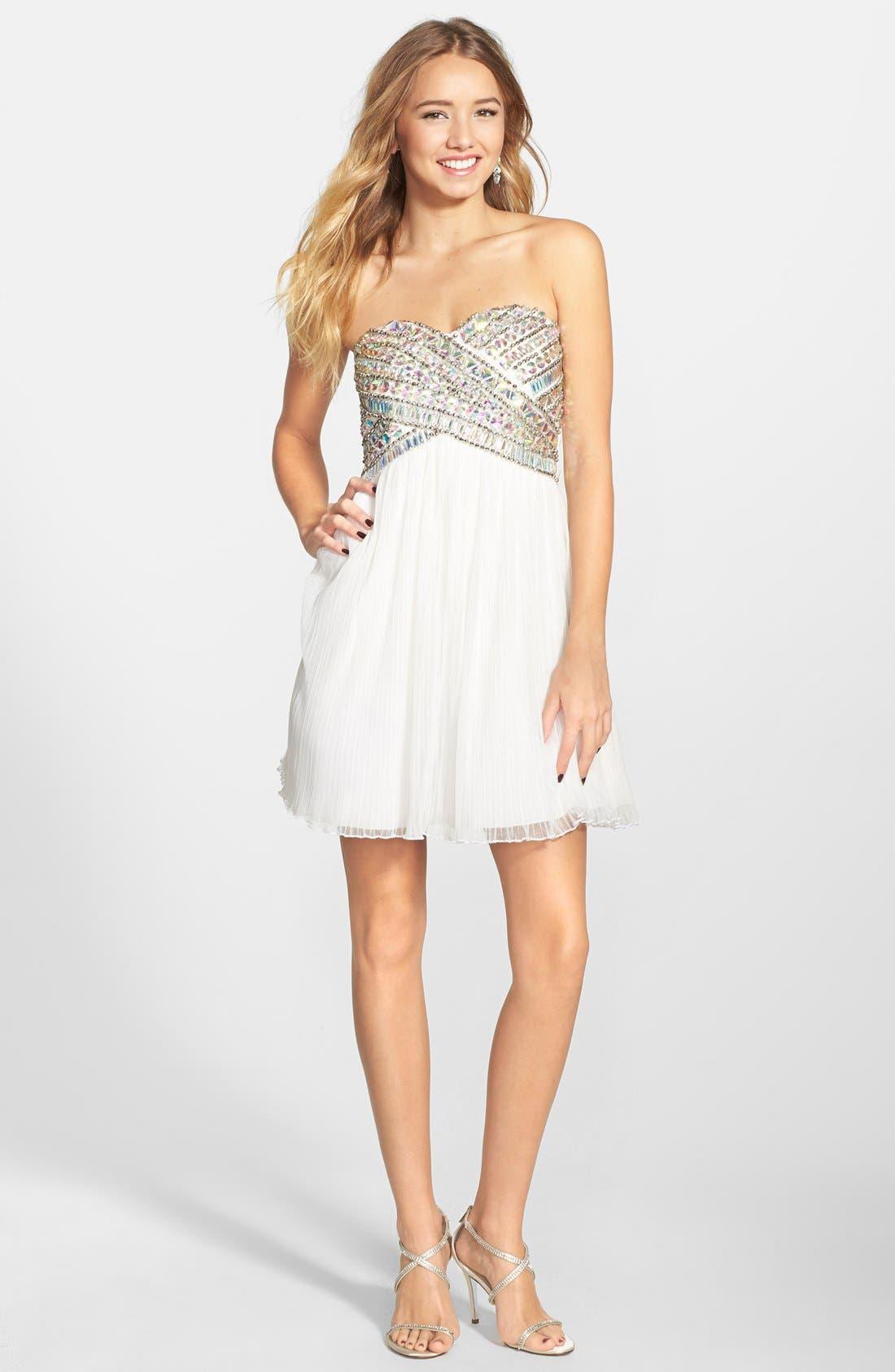 AS U WISH Strapless Gem Bodice Dress, Main, color, 100