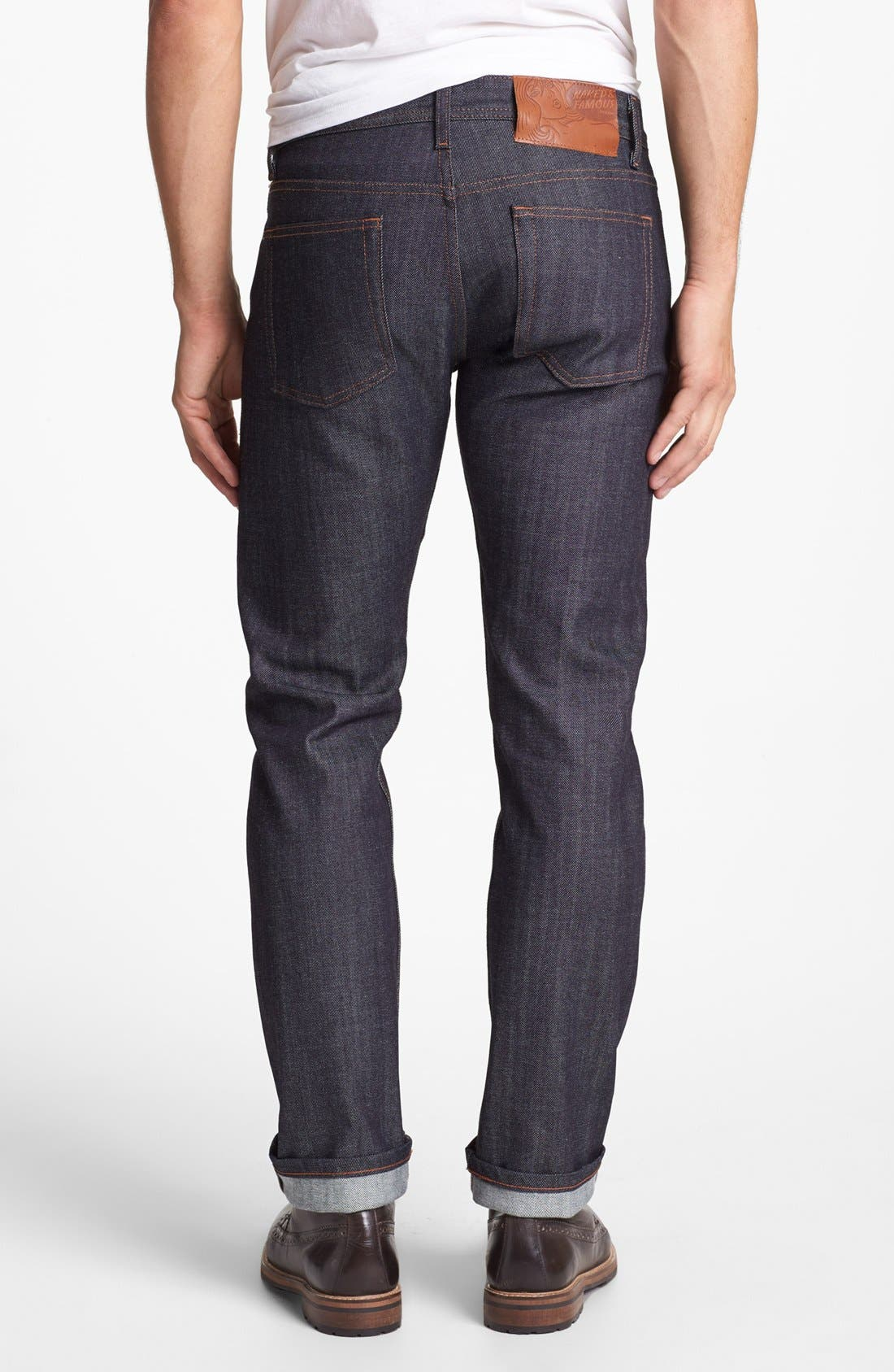 NAKED & FAMOUS DENIM, Weird Guy Slim Fit Raw Jeans, Alternate thumbnail 3, color, STRETCH SELVEDGE
